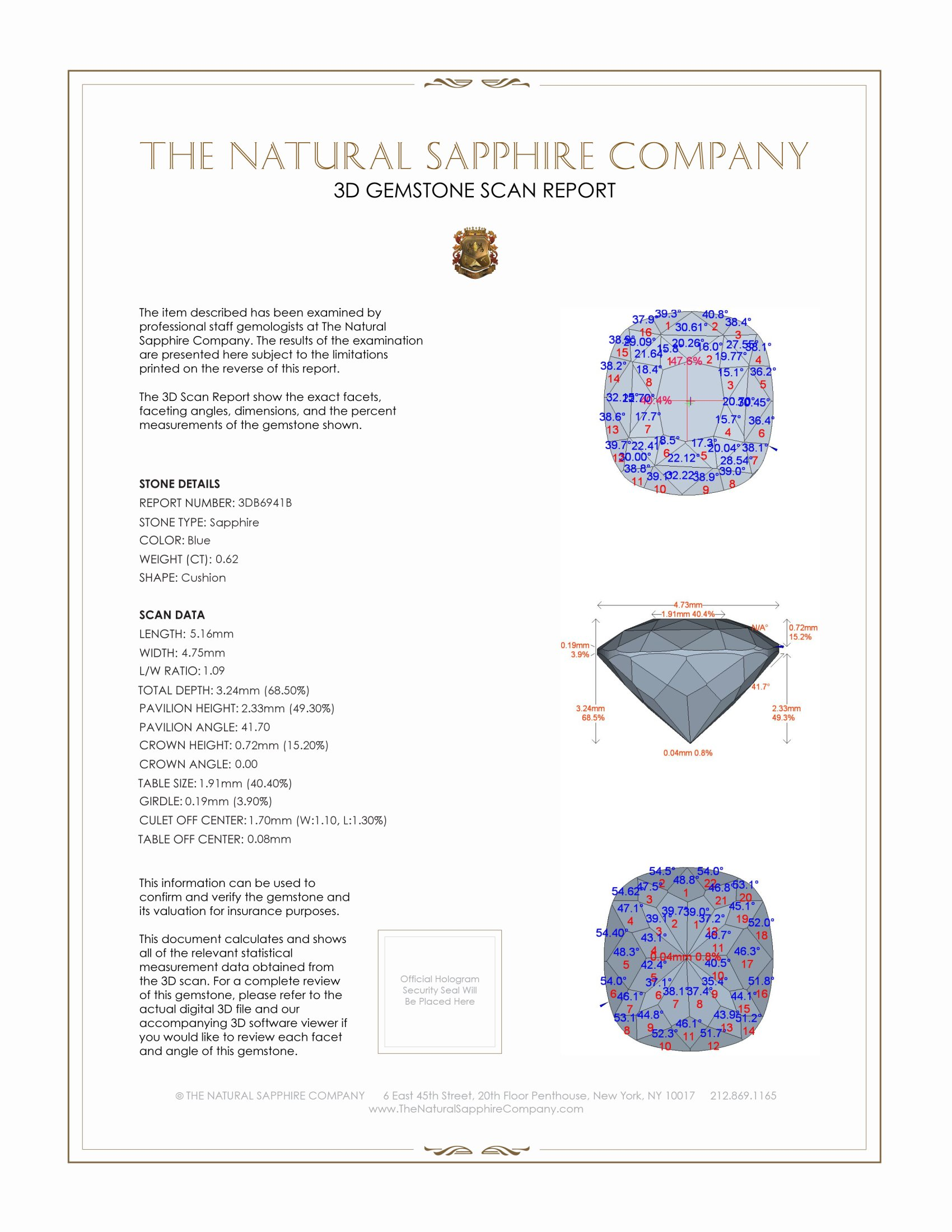 Natural Blue Sapphire B6941 Certification 2