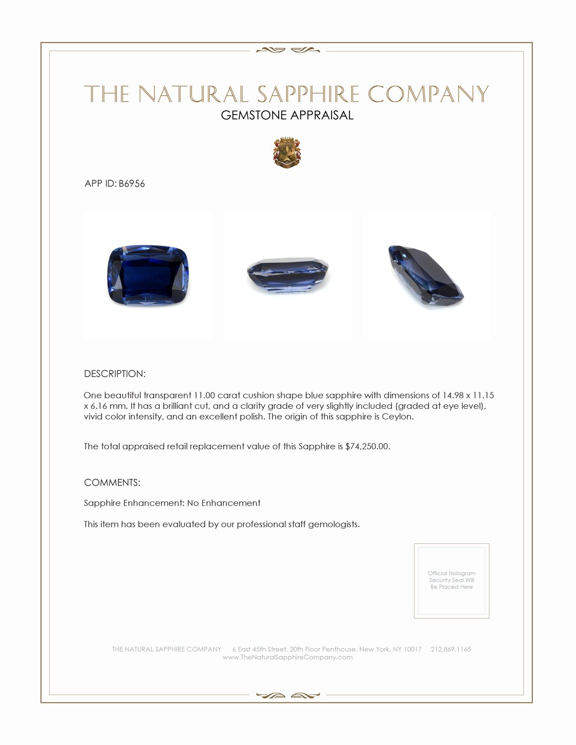 Natural Untreated Blue Sapphire B6956 Certification 4