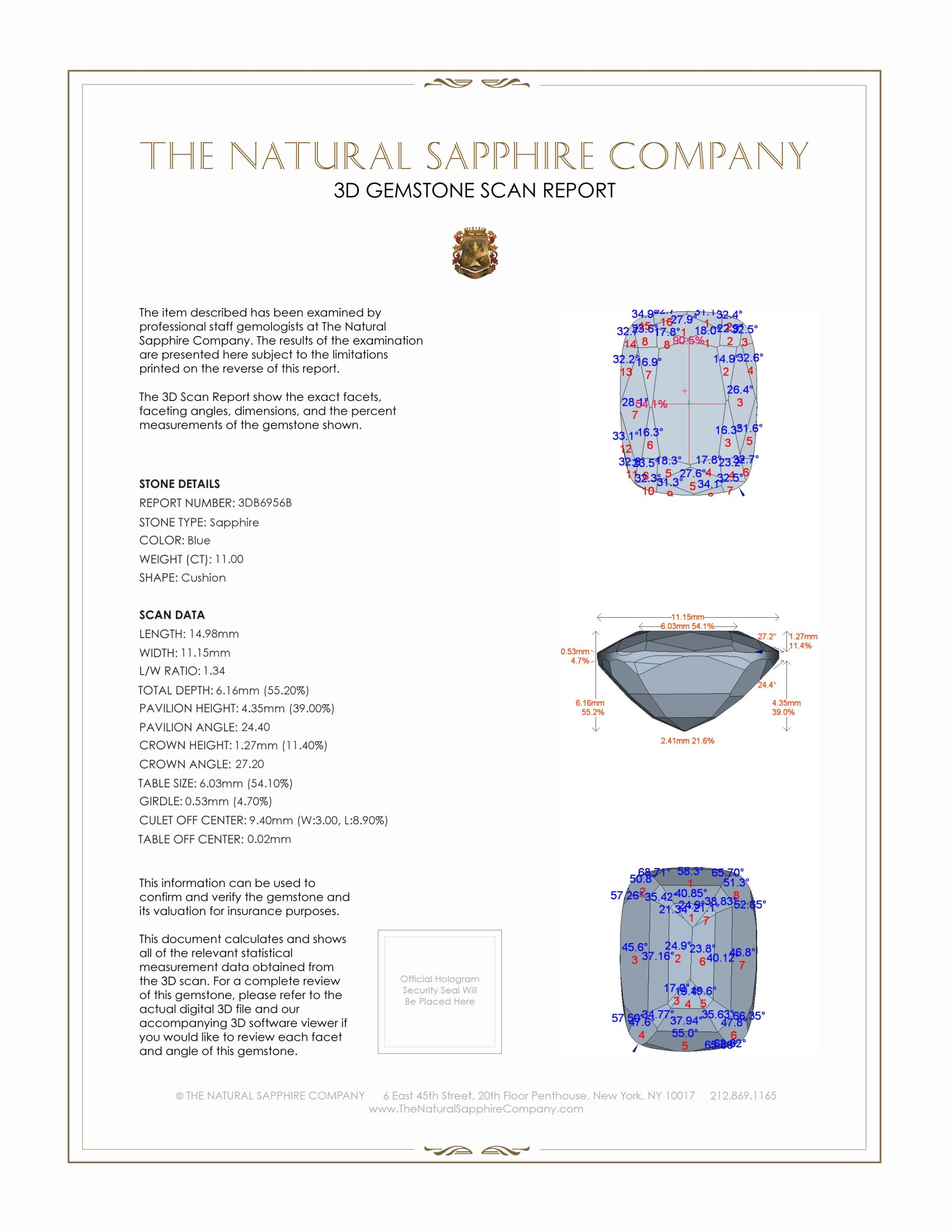 Natural Untreated Blue Sapphire B6956 Certification 2