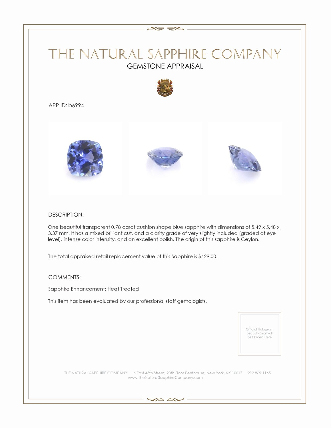 Natural Blue Sapphire B6994 Certification 3