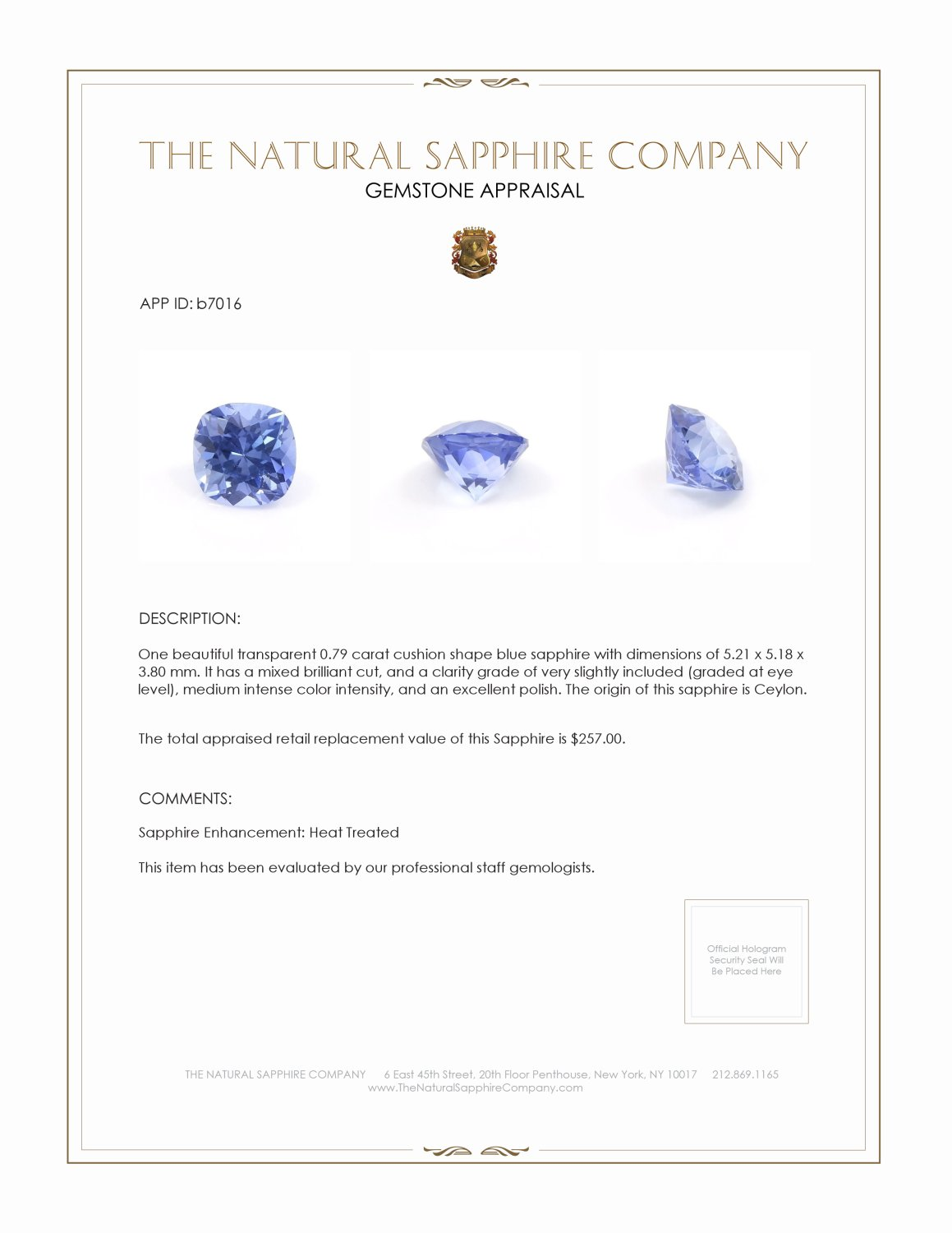 Natural Blue Sapphire B7016 Certification 3