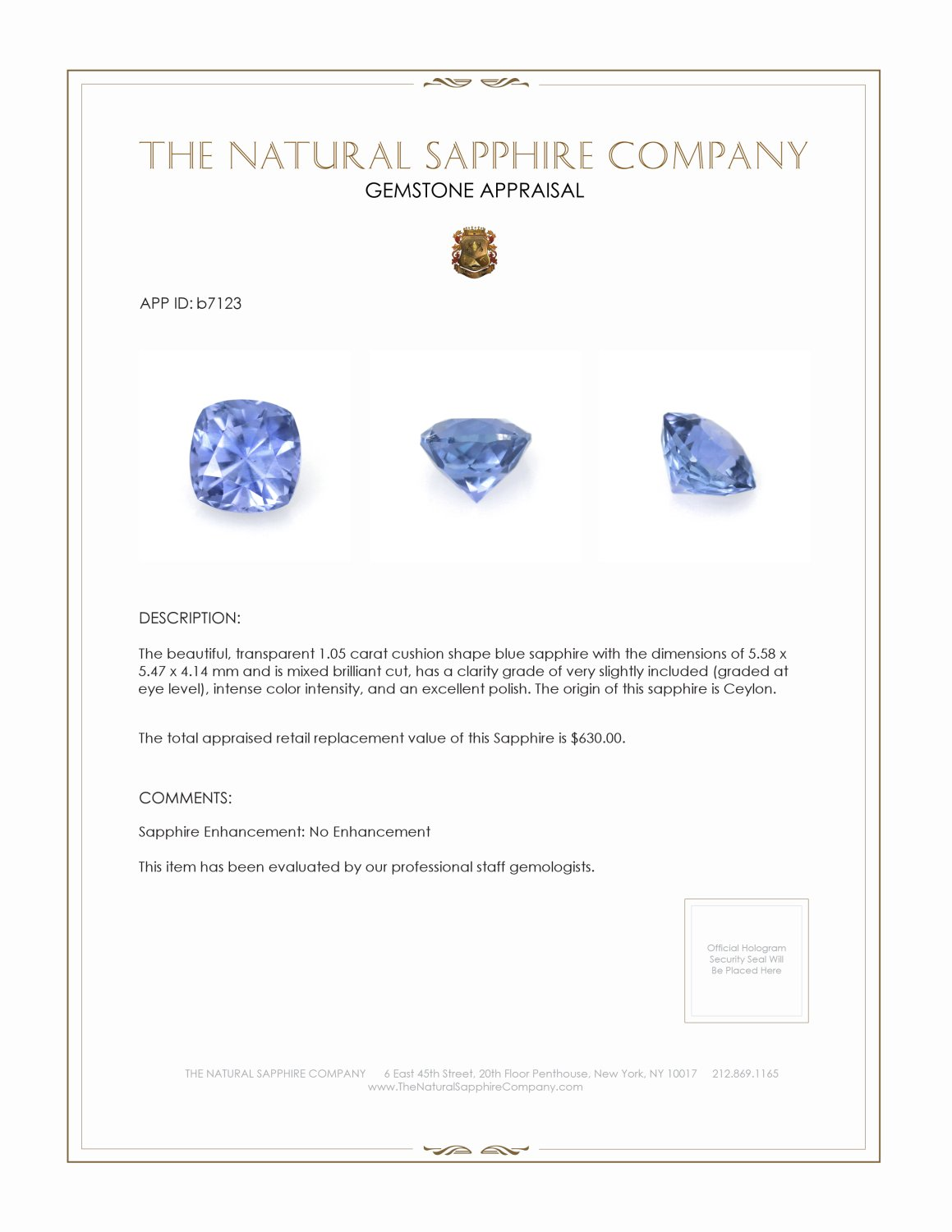 Natural Untreated Blue Sapphire B7123 Certification 3