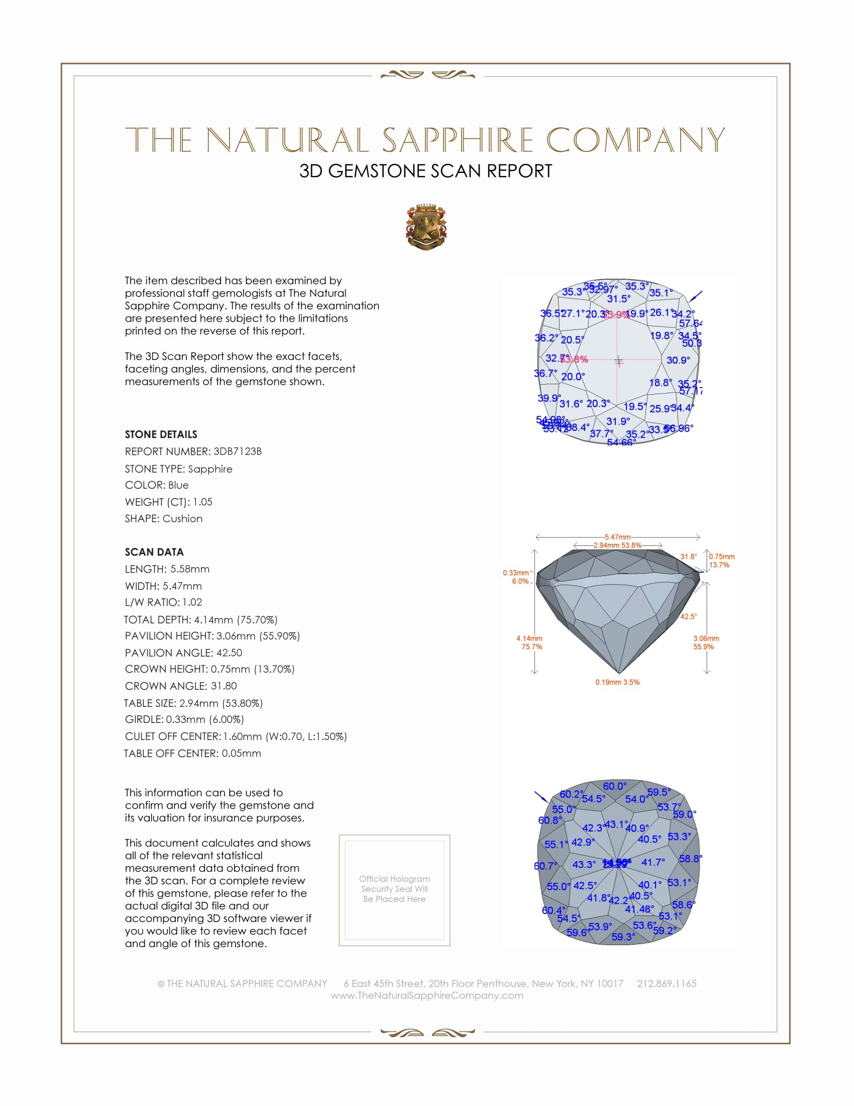 Natural Untreated Blue Sapphire B7123 Certification 2