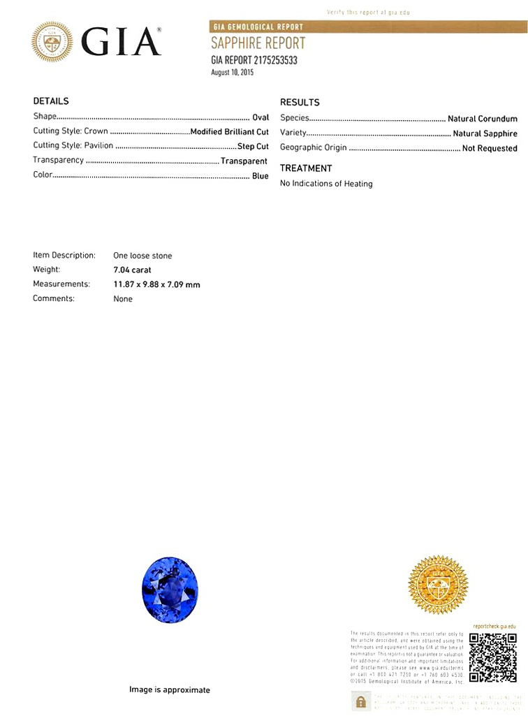 Natural Untreated Blue Sapphire B7139 Certification 3