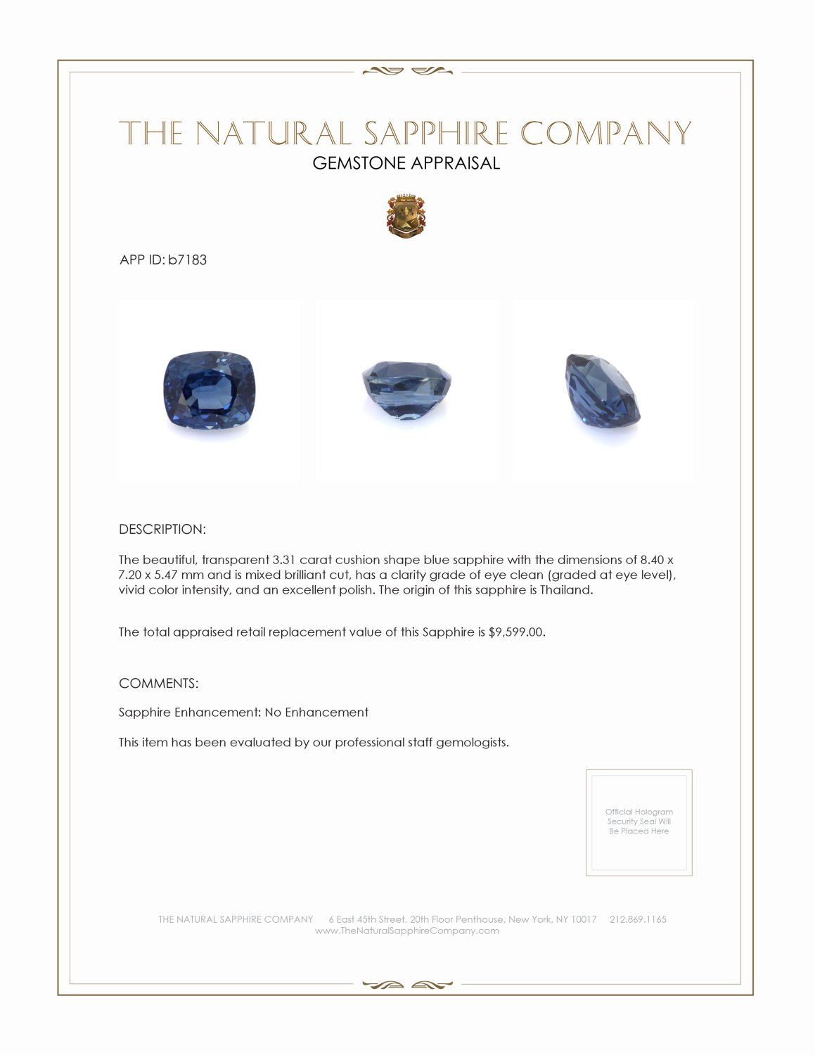 Natural Untreated Blue Sapphire B7183 Certification 4