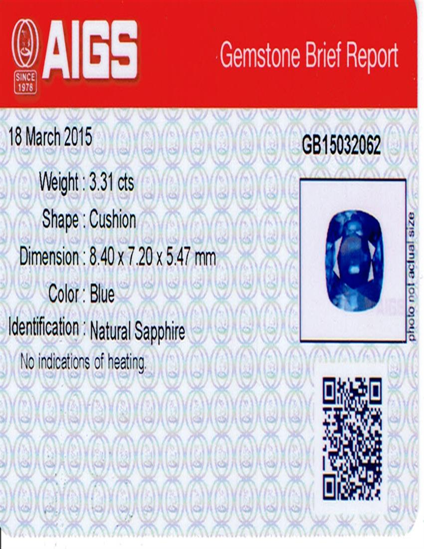 Natural Untreated Blue Sapphire B7183 Certification 3