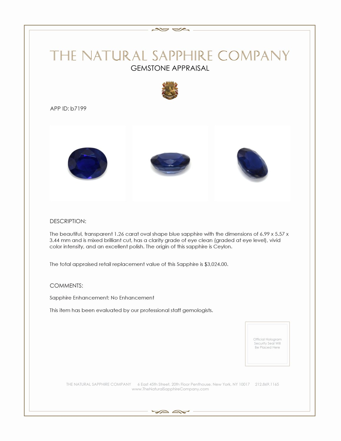 Natural Untreated Blue Sapphire B7199 Certification 3