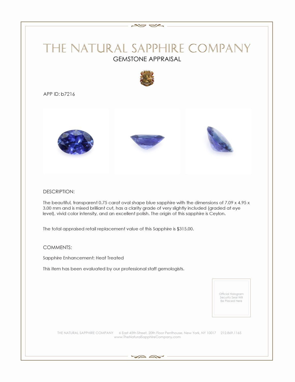 Natural Blue Sapphire B7216 Certification 3