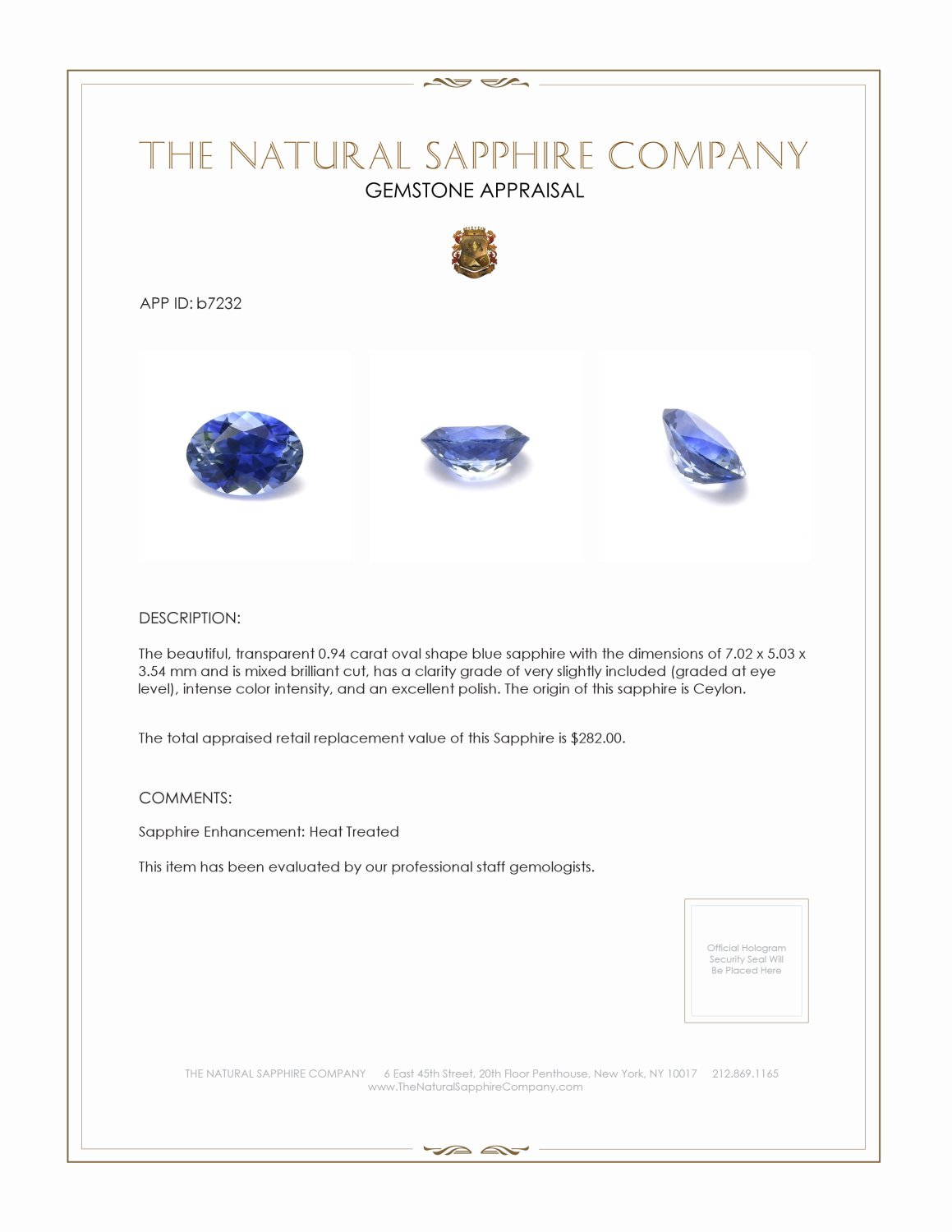 Natural Blue Sapphire B7232 Certification 3