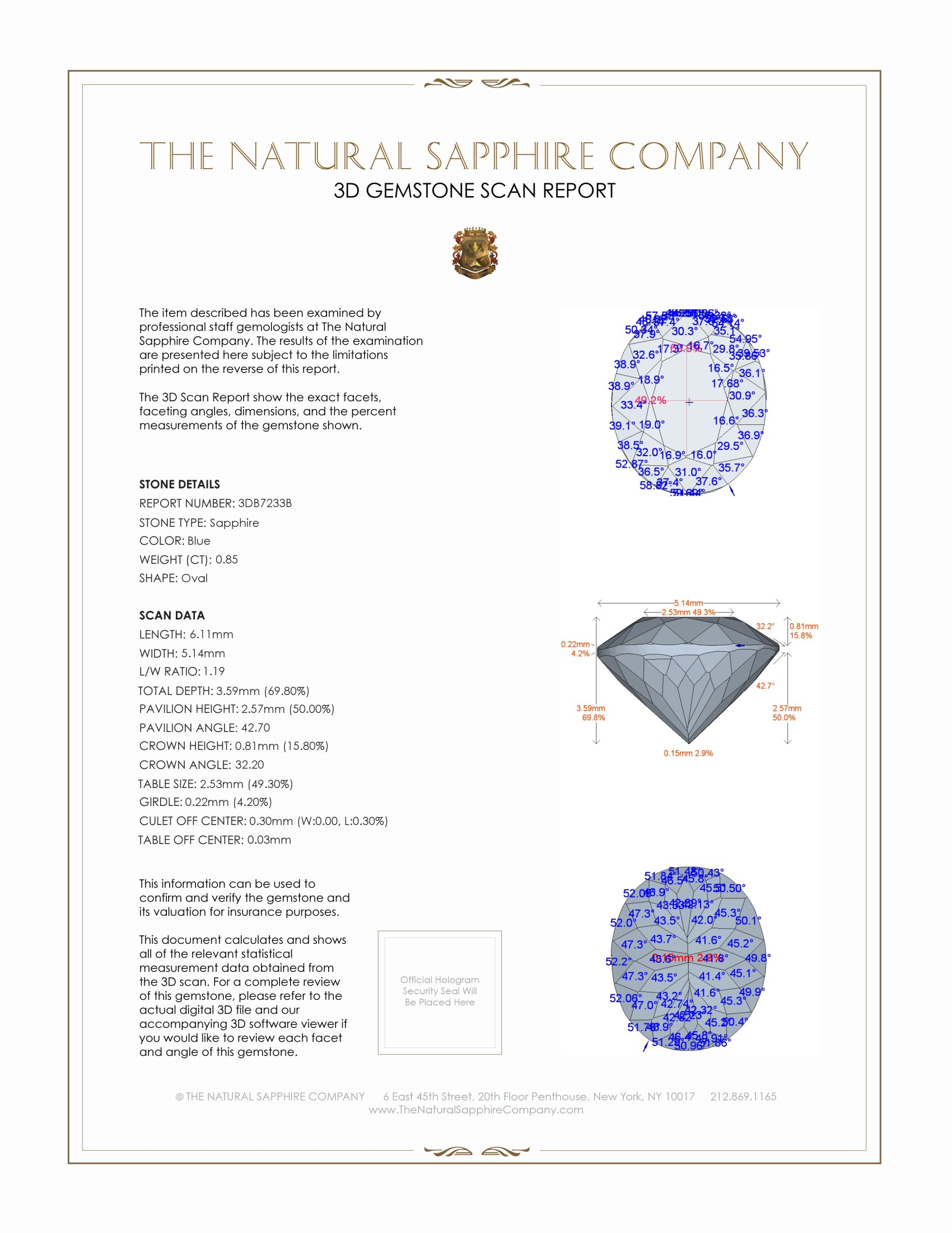 Natural Blue Sapphire B7233 Certification 2