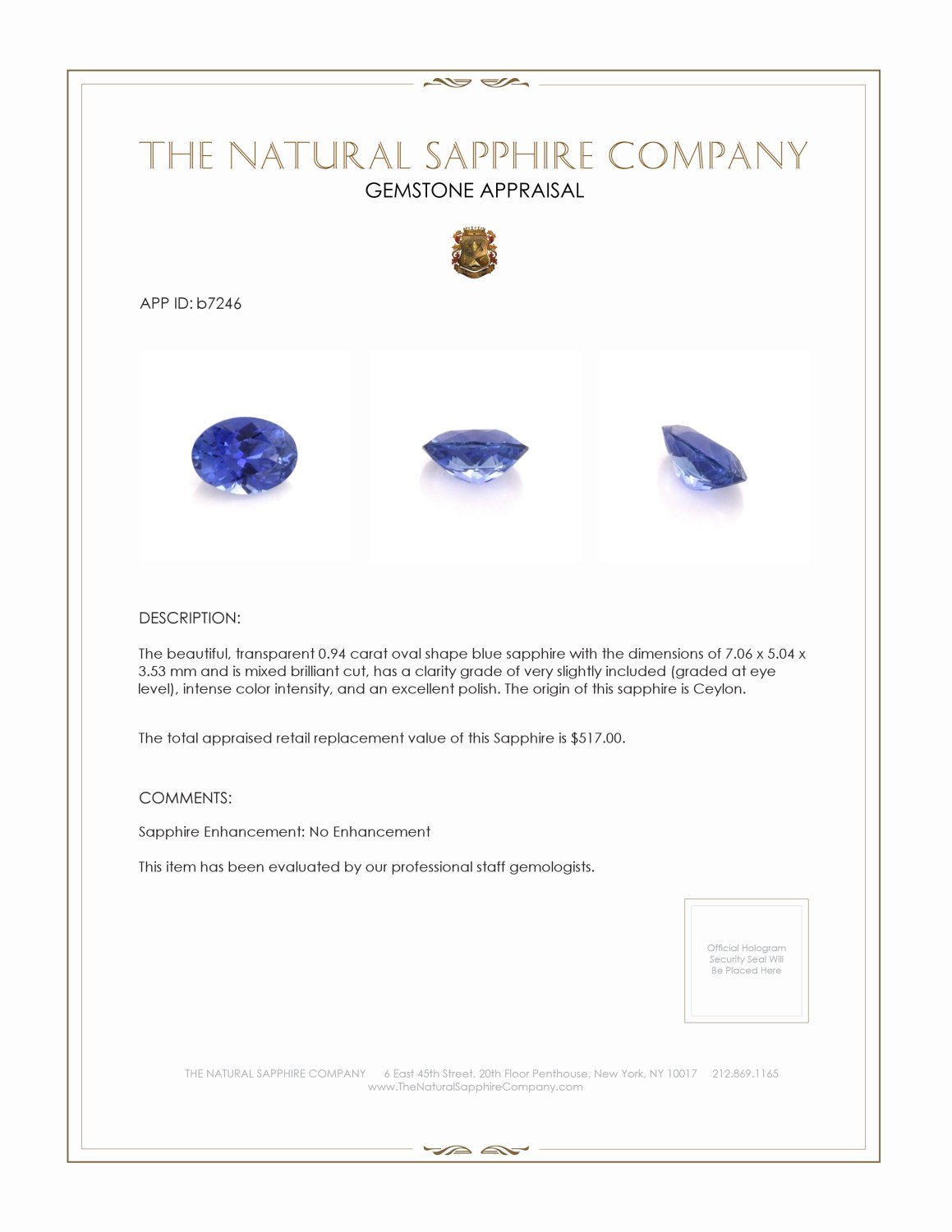 Natural Untreated Blue Sapphire B7246 Certification 3