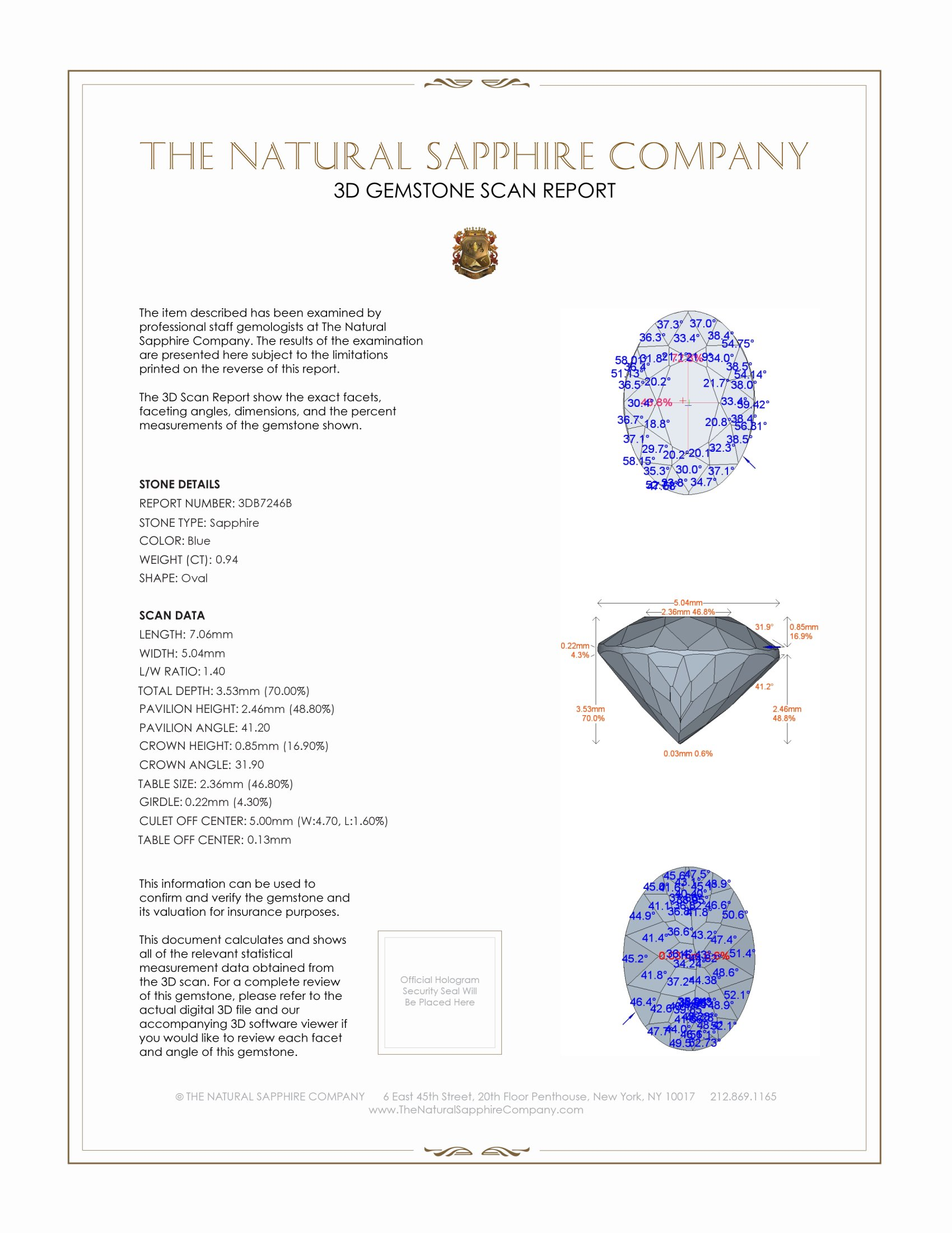 Natural Untreated Blue Sapphire B7246 Certification 2
