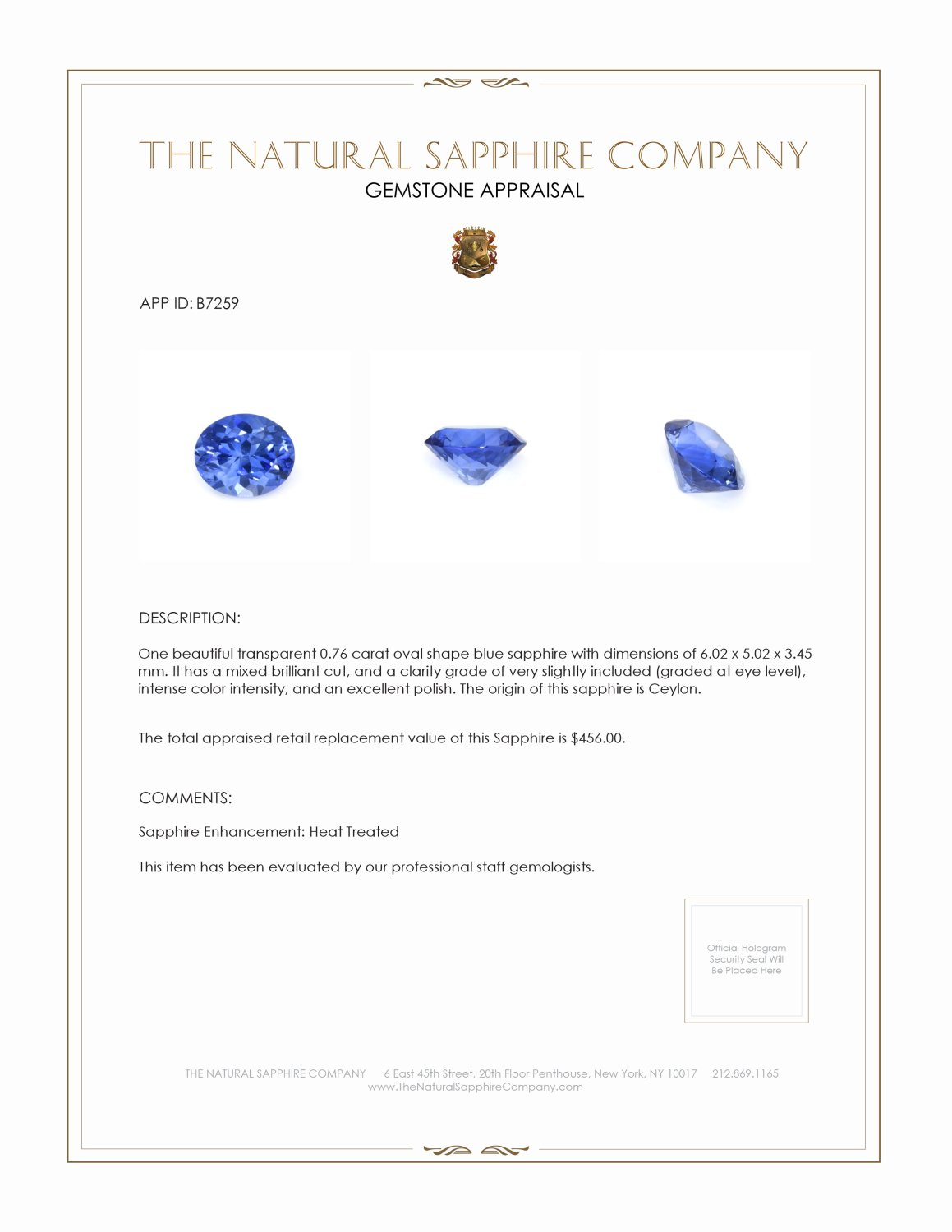 Natural Blue Sapphire B7259 Certification 3