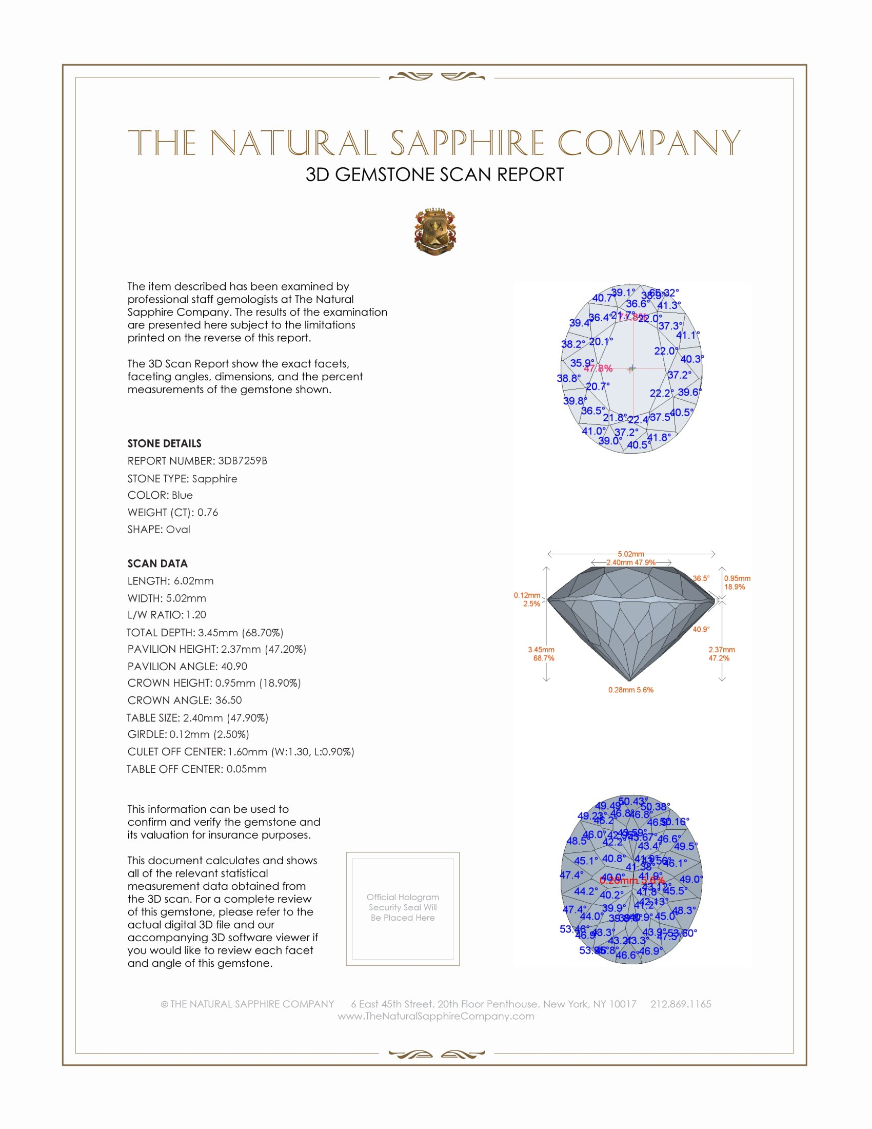 Natural Blue Sapphire B7259 Certification 2