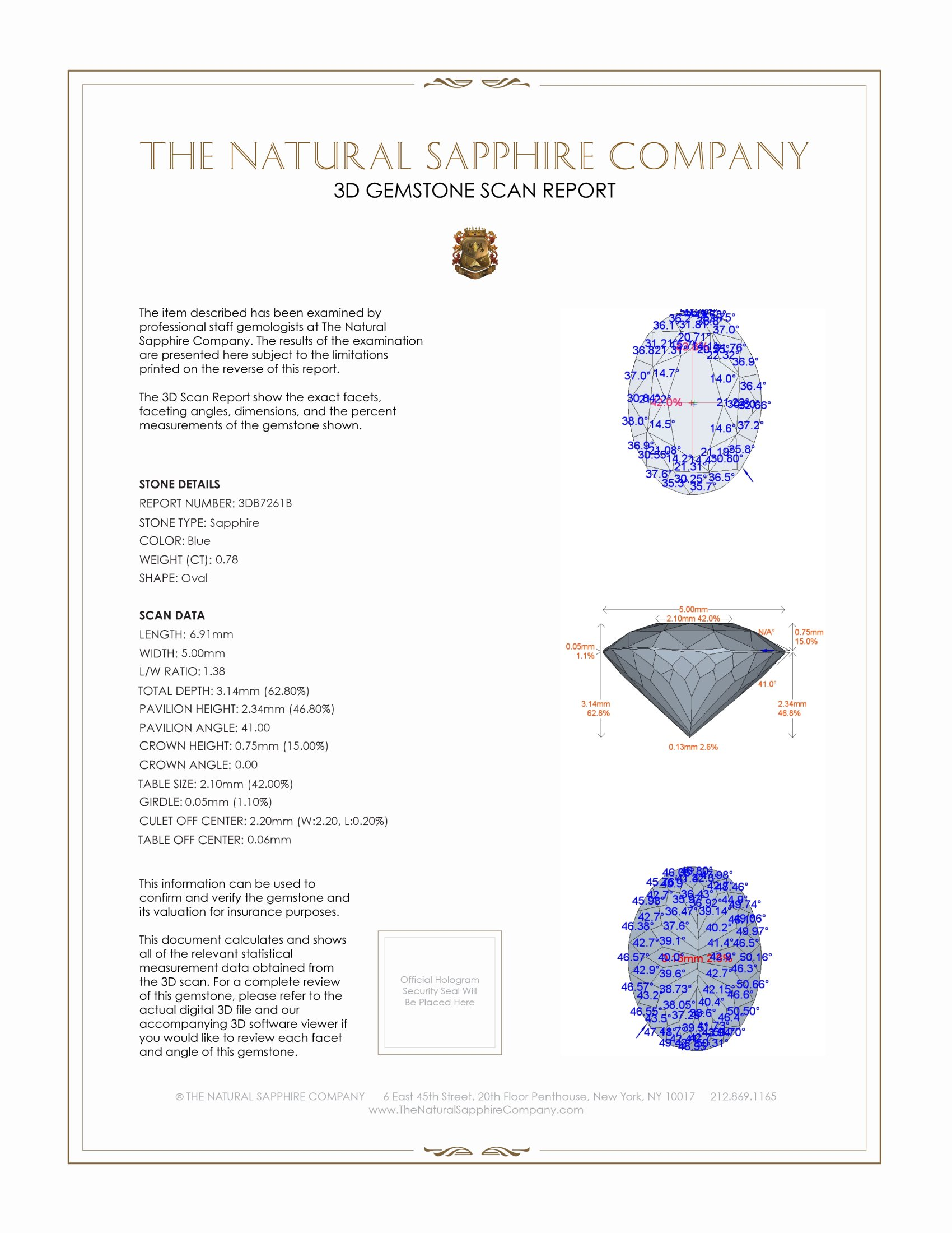 Natural Blue Sapphire B7261 Certification 2