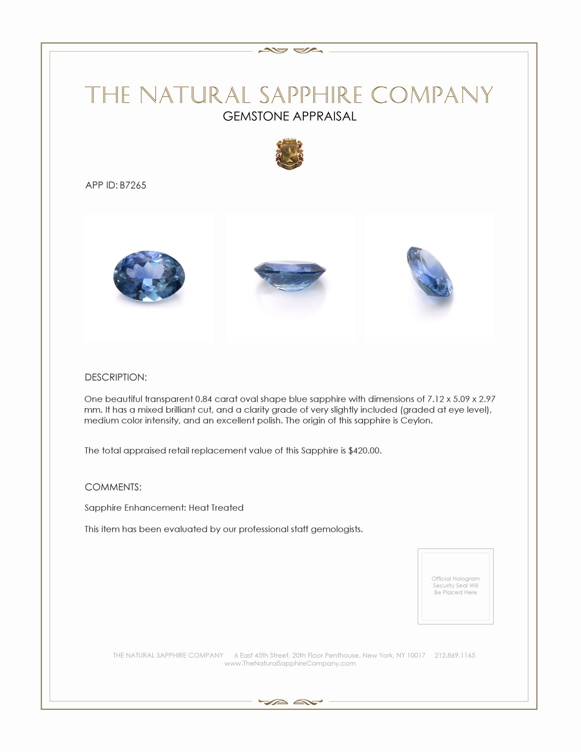 Natural Blue Sapphire B7265 Certification 3
