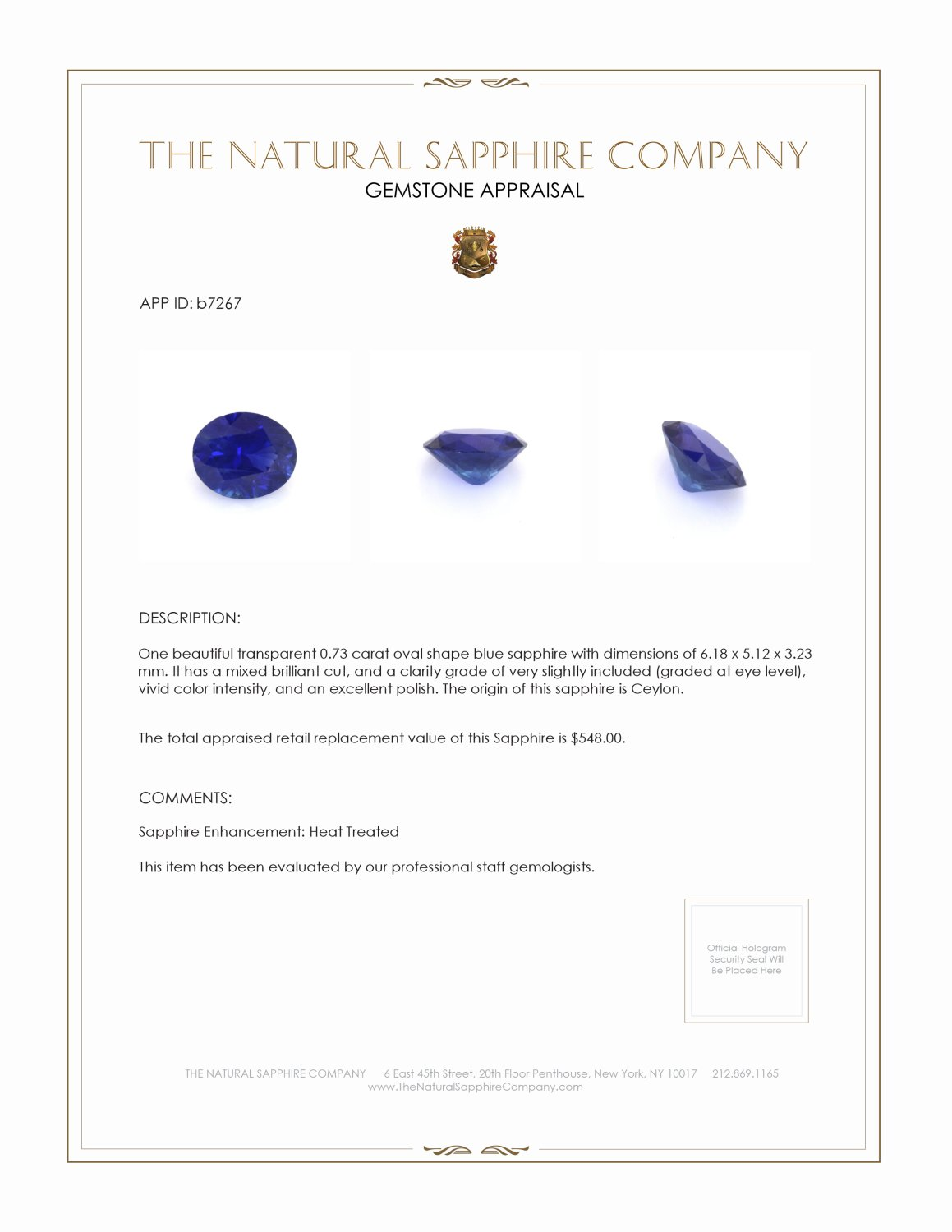 Natural Blue Sapphire B7267 Certification