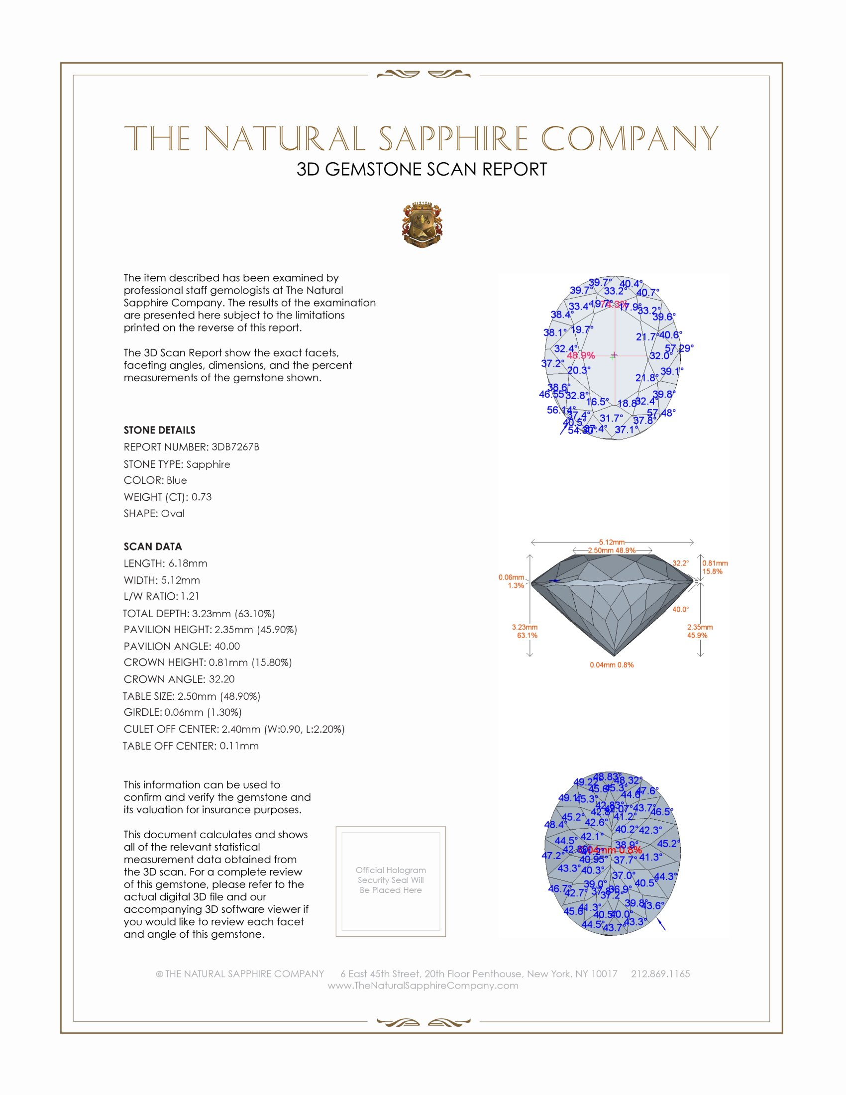 Natural Blue Sapphire B7267 Certification 2