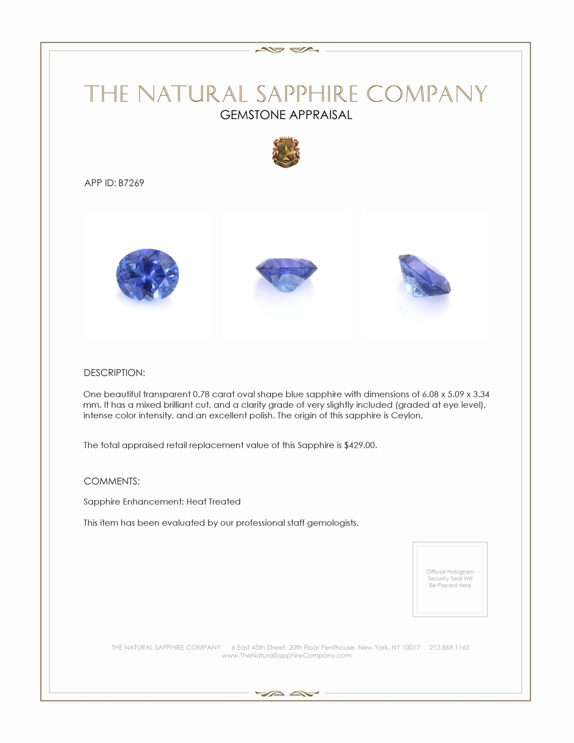 Natural Blue Sapphire B7269 Certification 3