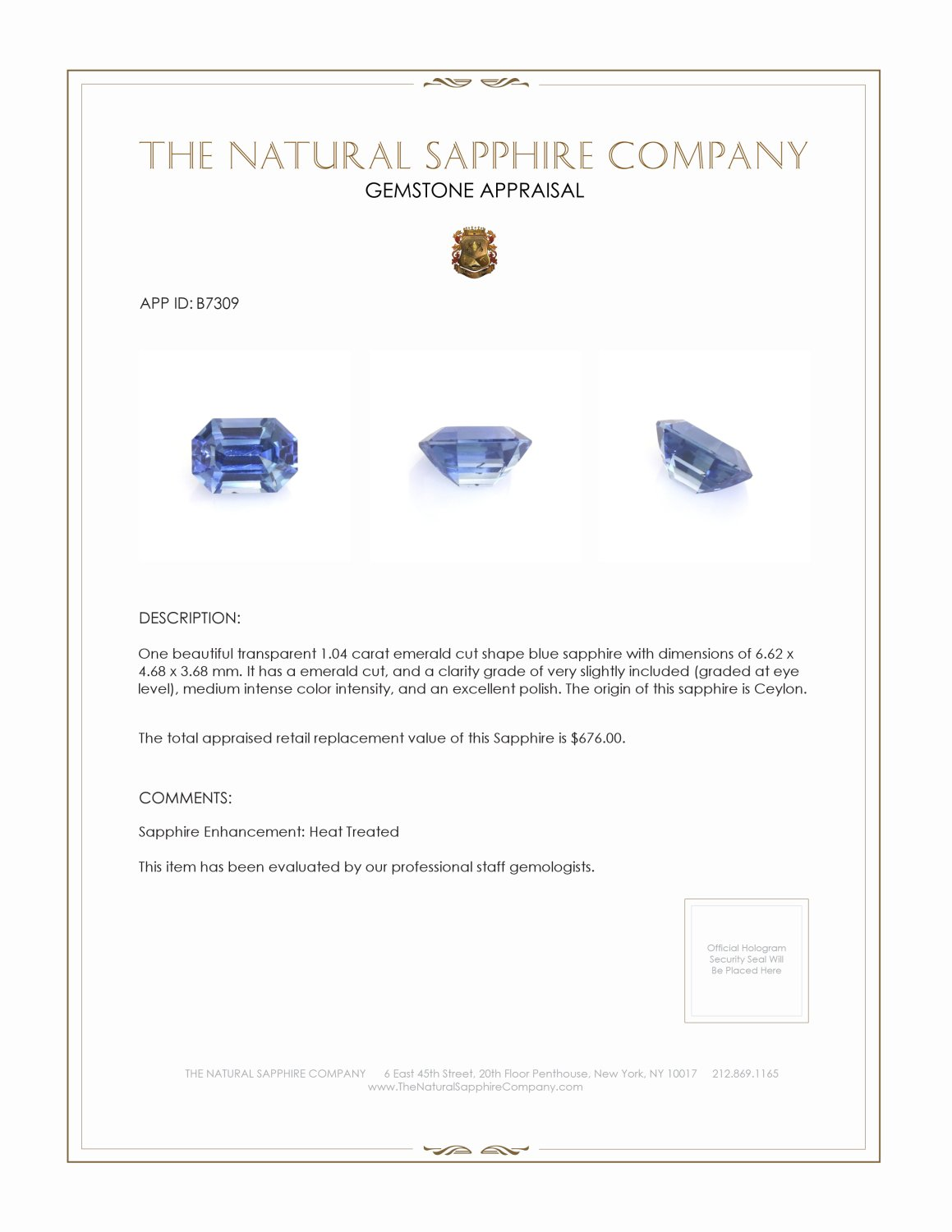 Natural Blue Sapphire B7309 Certification 3