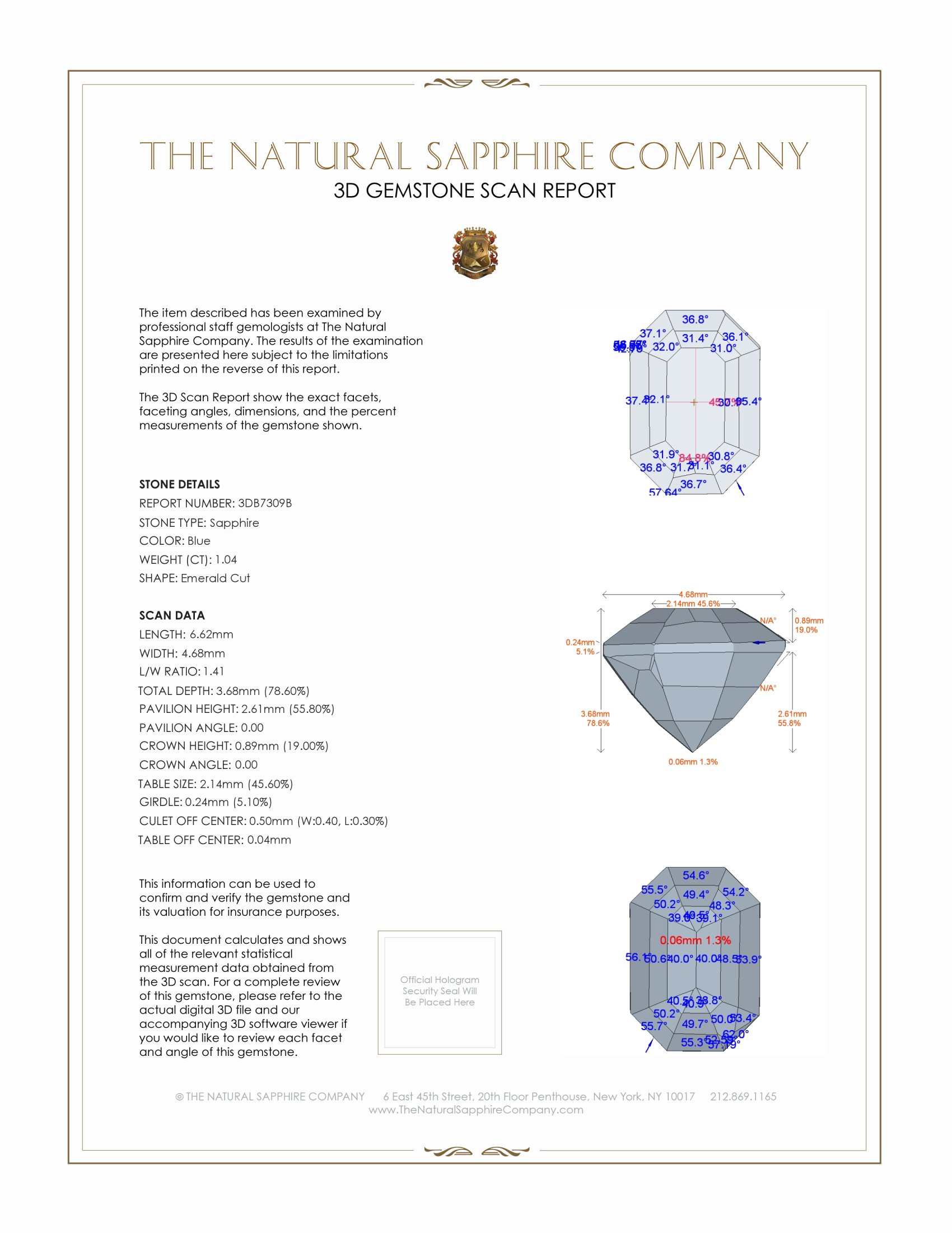 Natural Blue Sapphire B7309 Certification 2