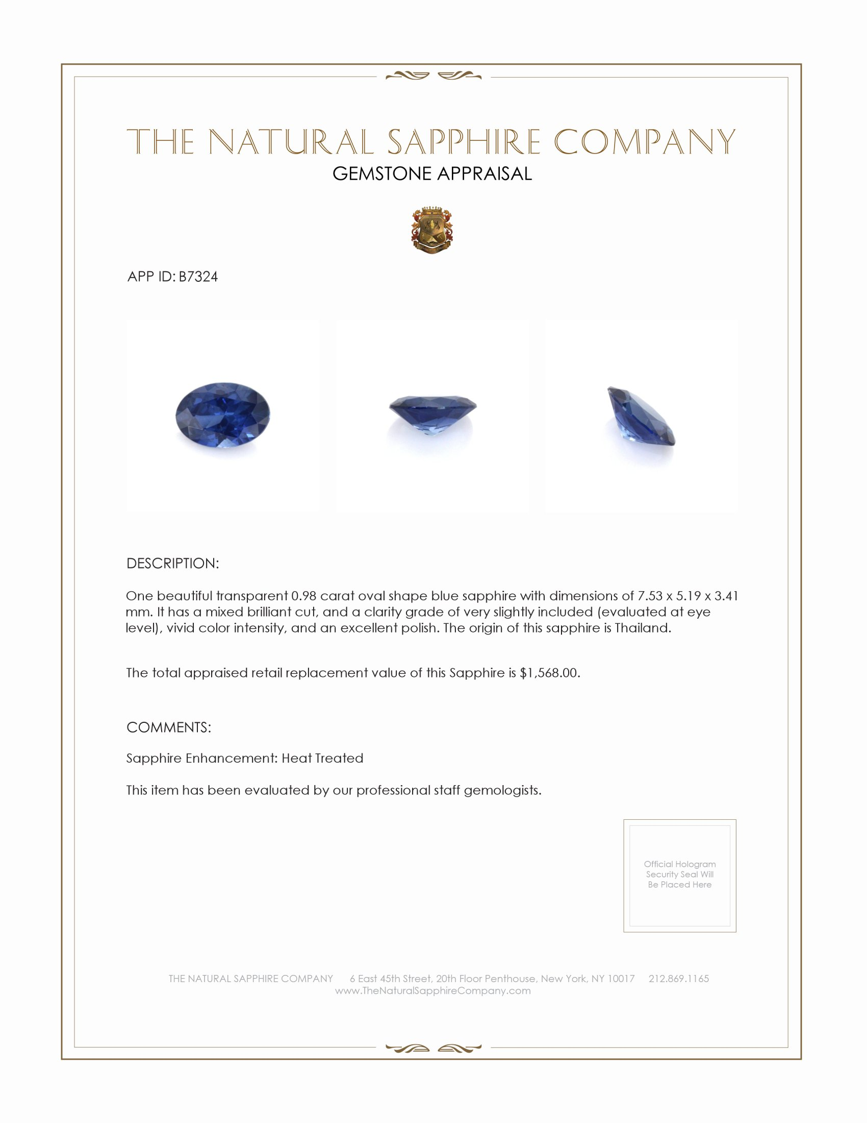 Natural Blue Sapphire B7324 Certification