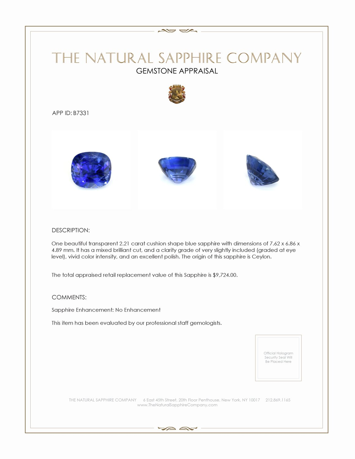 Natural Untreated Blue Sapphire B7331 Certification 3