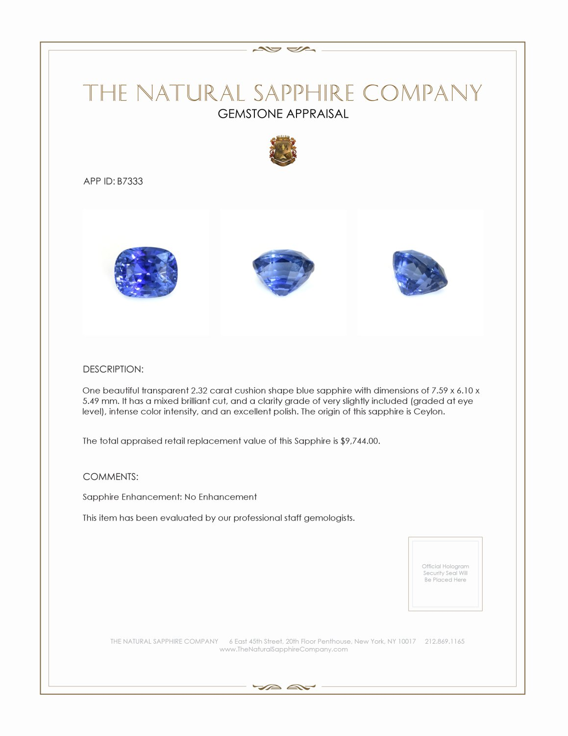 Natural Untreated Blue Sapphire B7333 Certification 3