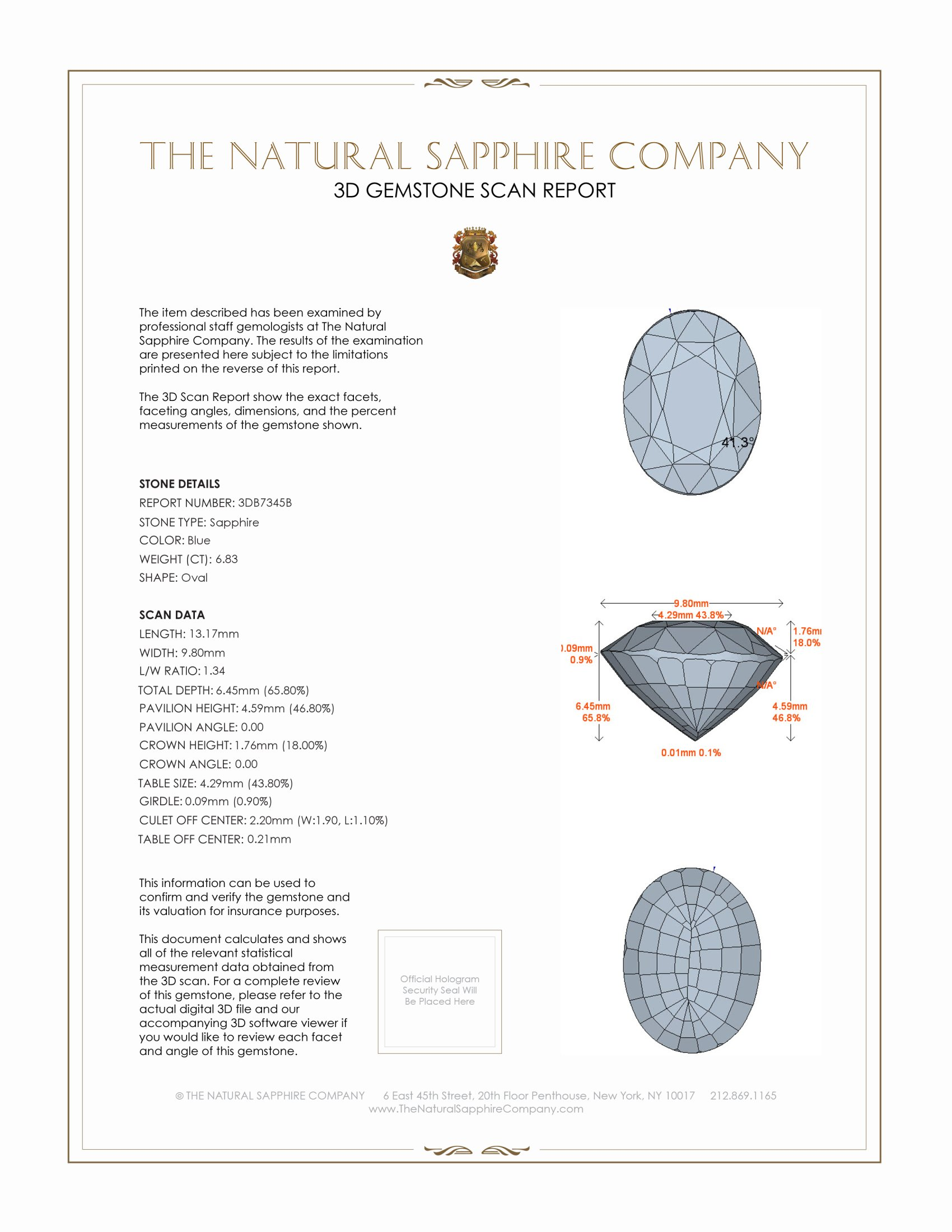 Natural Untreated Blue Sapphire B7345 Certification 2