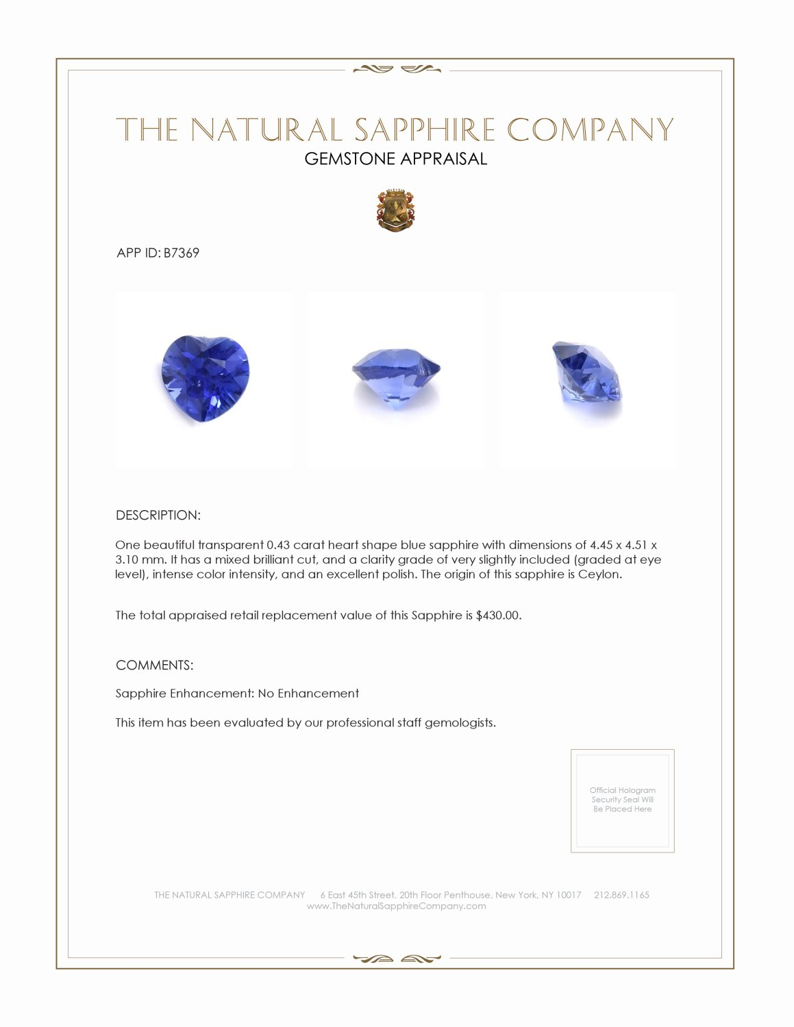 Natural Untreated Blue Sapphire B7369 Certification