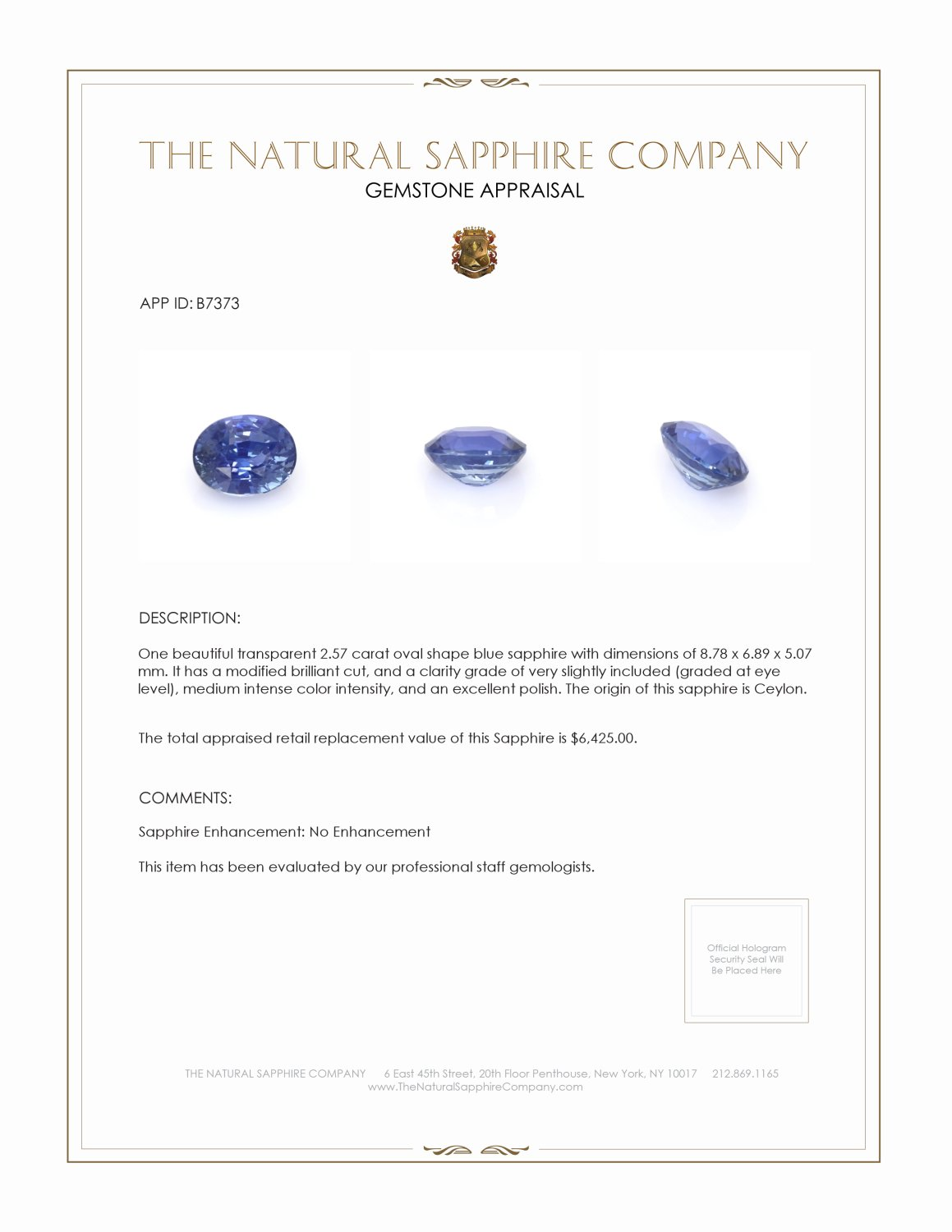 Natural Untreated Blue Sapphire B7373 Certification 4