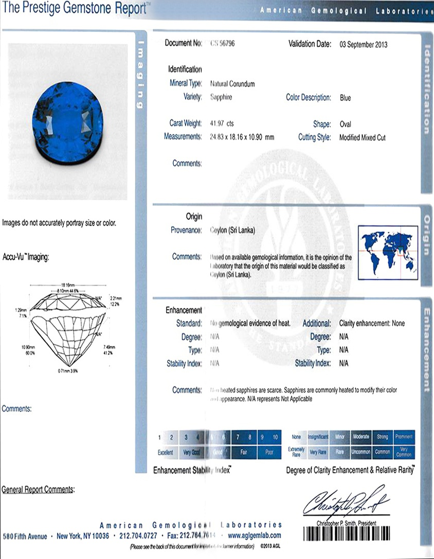Natural Untreated Blue Sapphire B7376 Certification 3