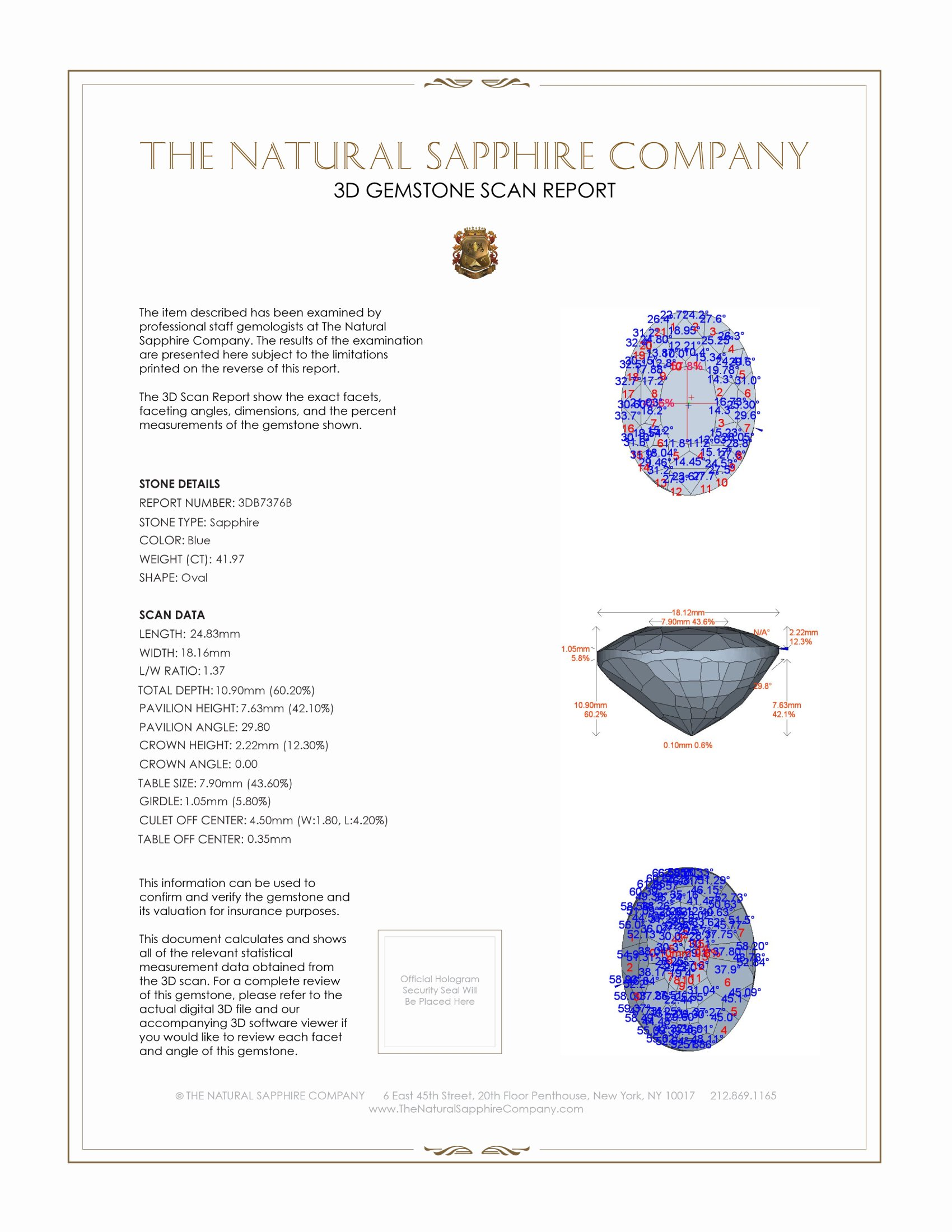 Natural Untreated Blue Sapphire B7376 Certification 2