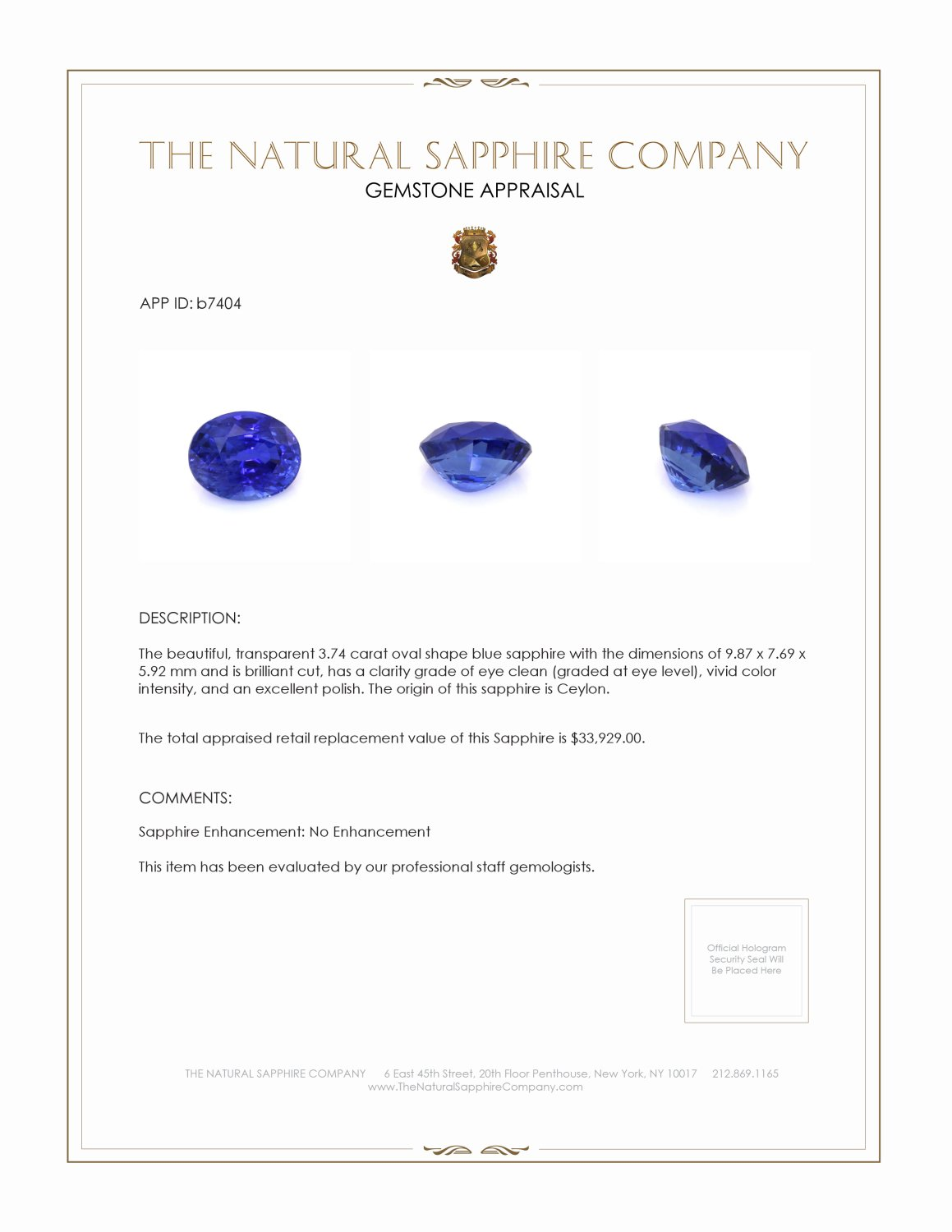Natural Untreated Blue Sapphire B7404 Certification 4