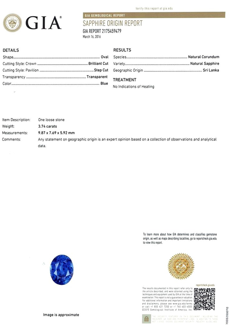 Natural Untreated Blue Sapphire B7404 Certification 3