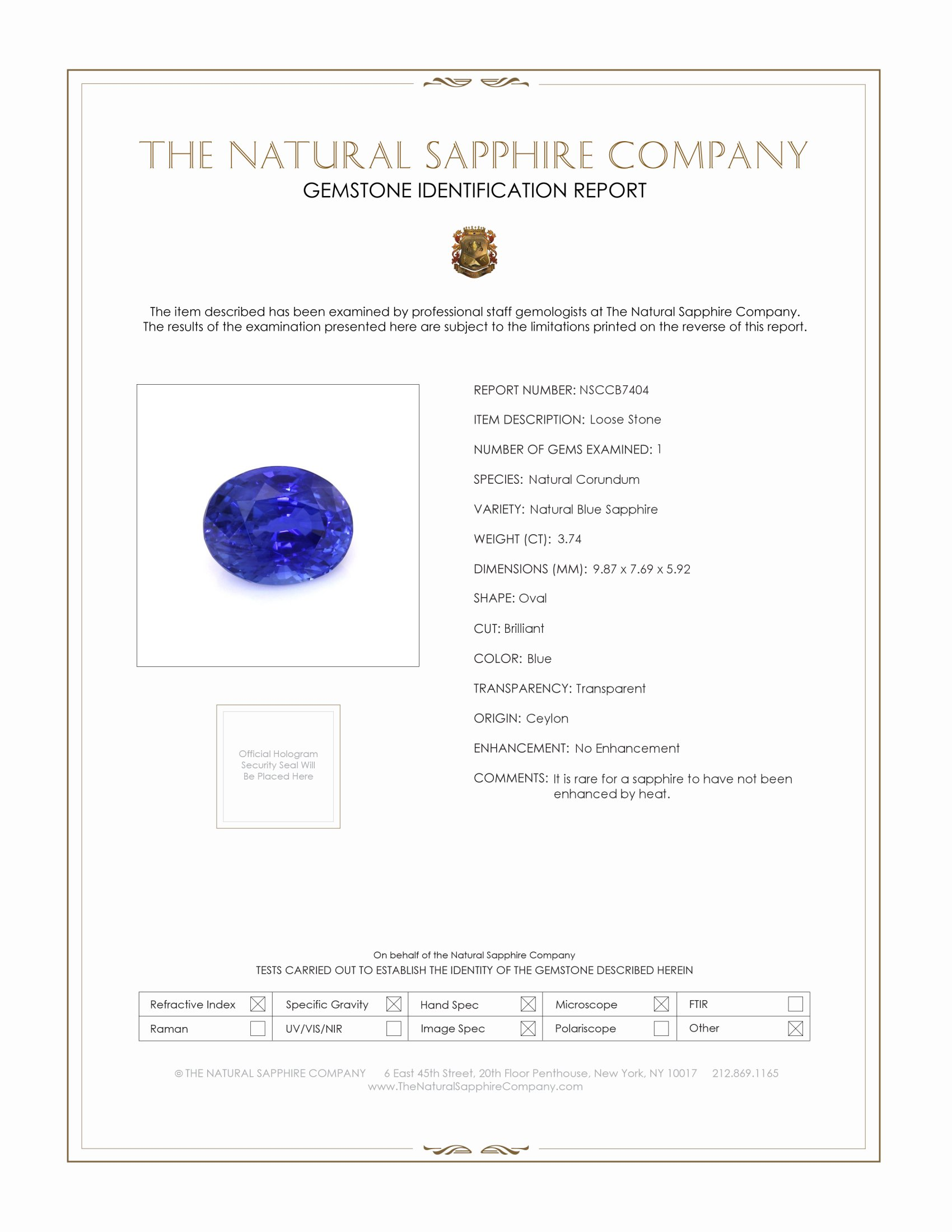 Natural Untreated Blue Sapphire B7404 Certification