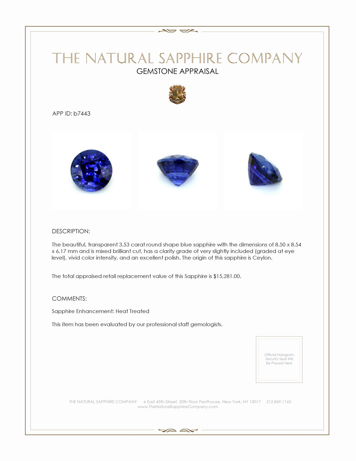Natural Blue Sapphire B7443 Certification 4