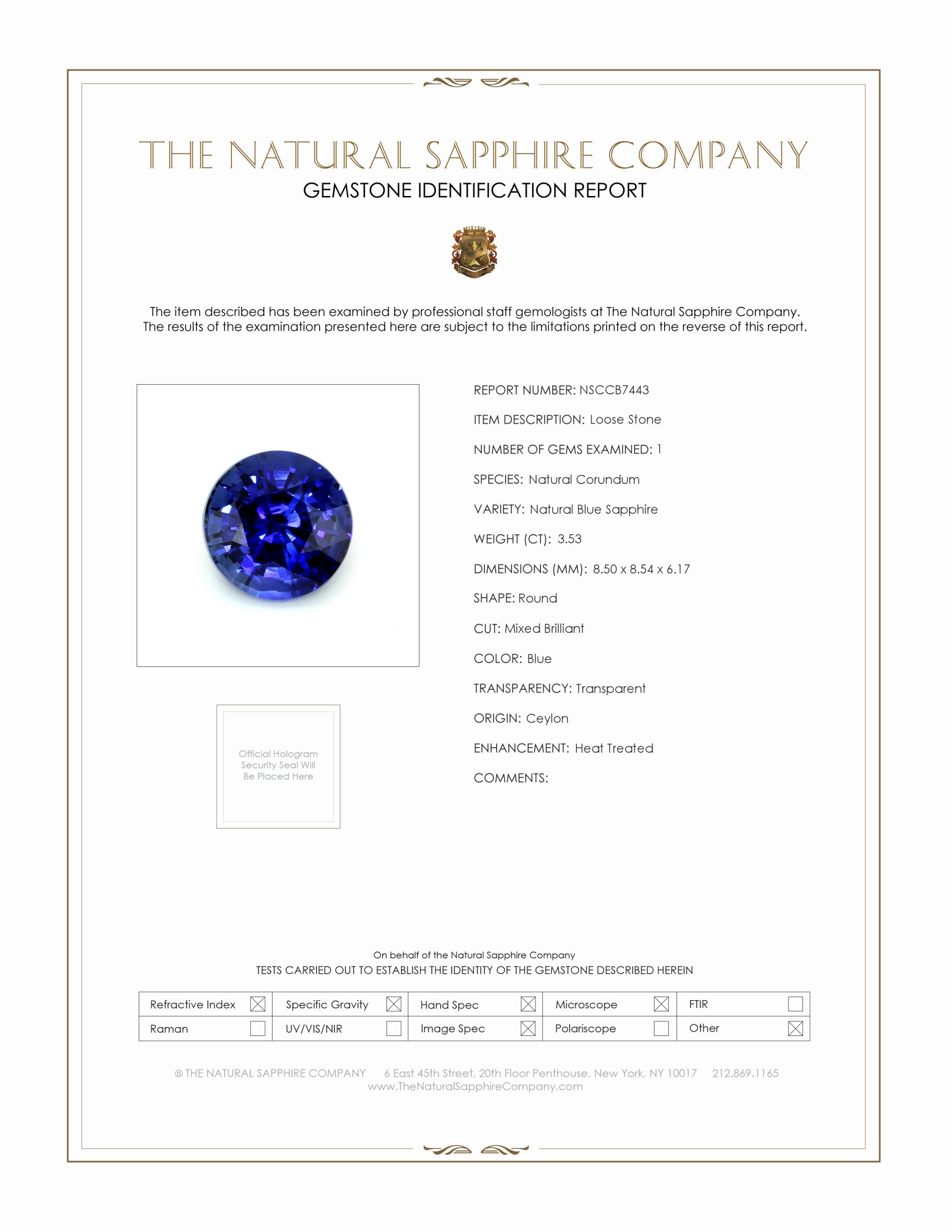 Natural Blue Sapphire B7443 Certification