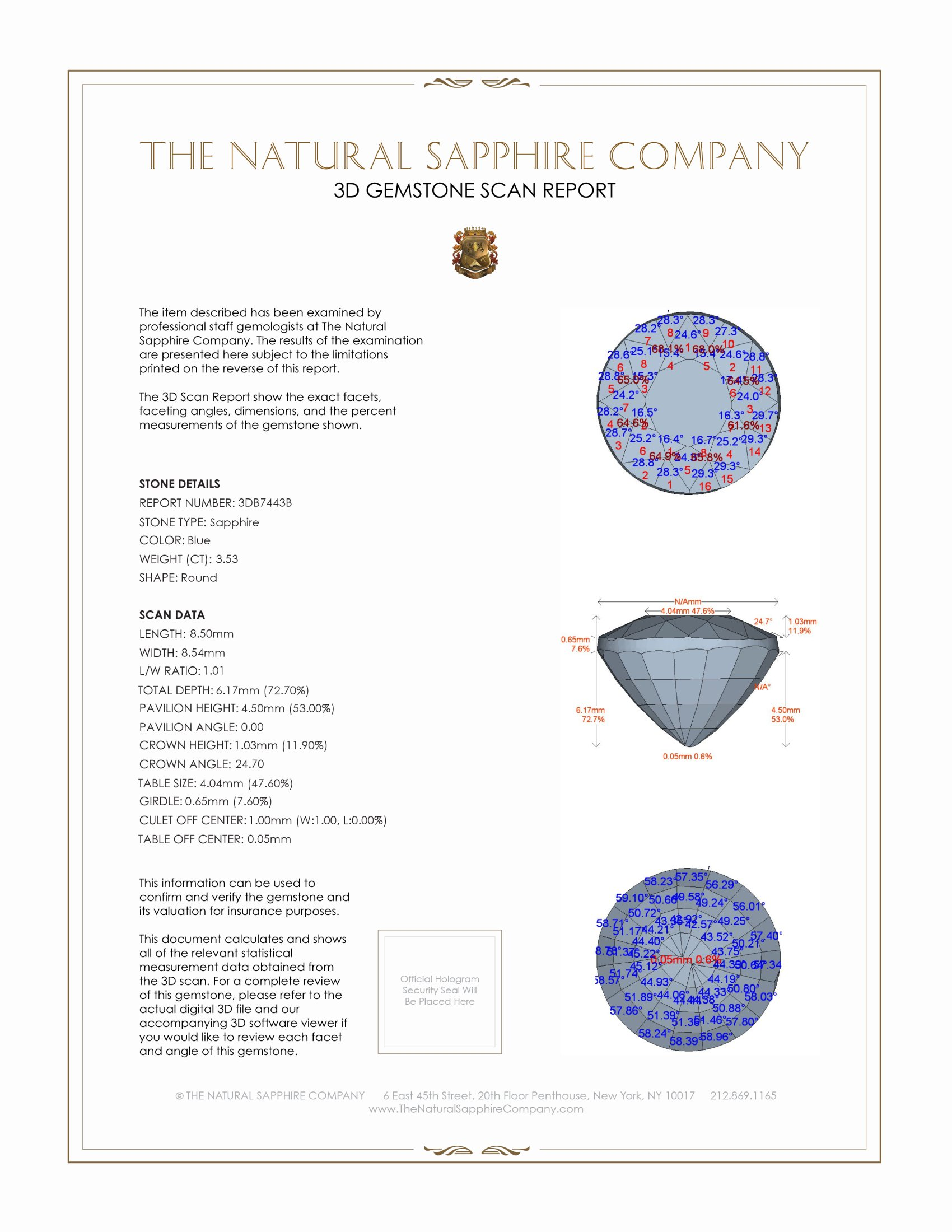Natural Blue Sapphire B7443 Certification 2