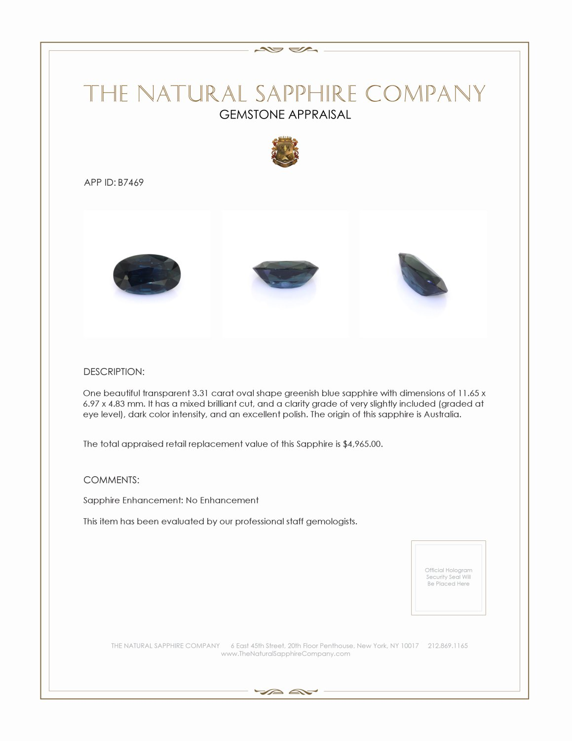 Natural Untreated Blue Sapphire B7469 Certification 3