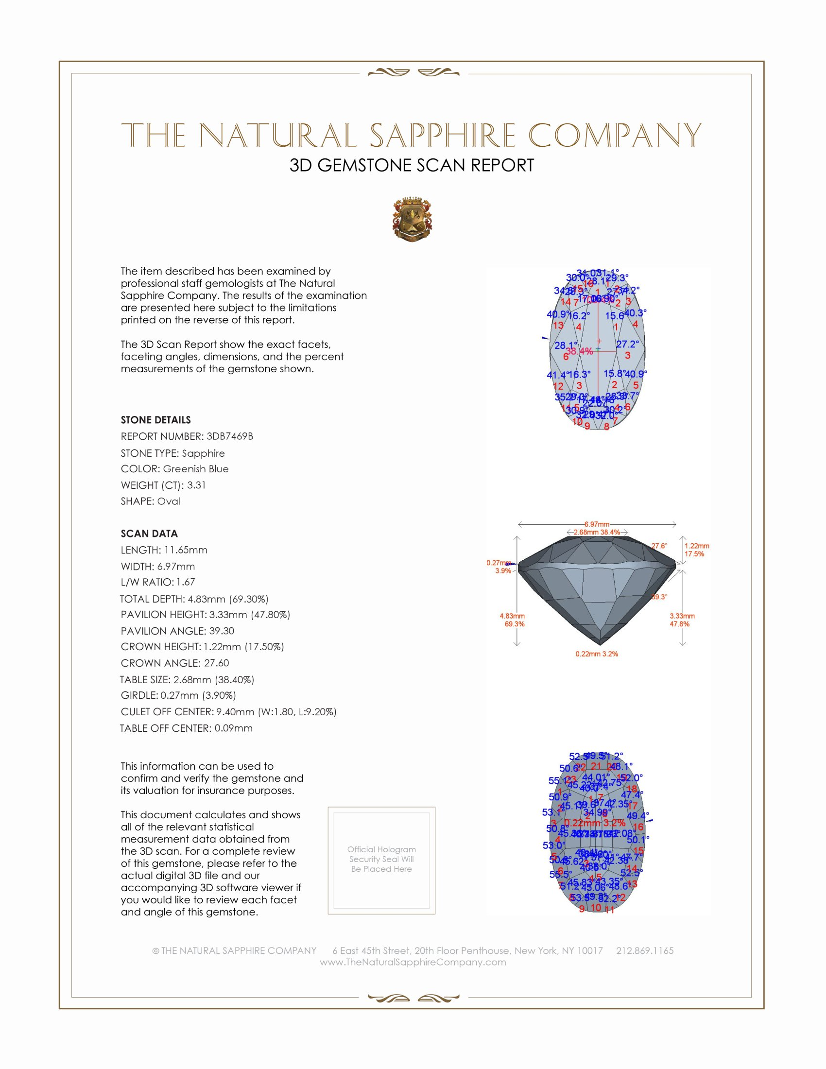 Natural Untreated Blue Sapphire B7469 Certification 2