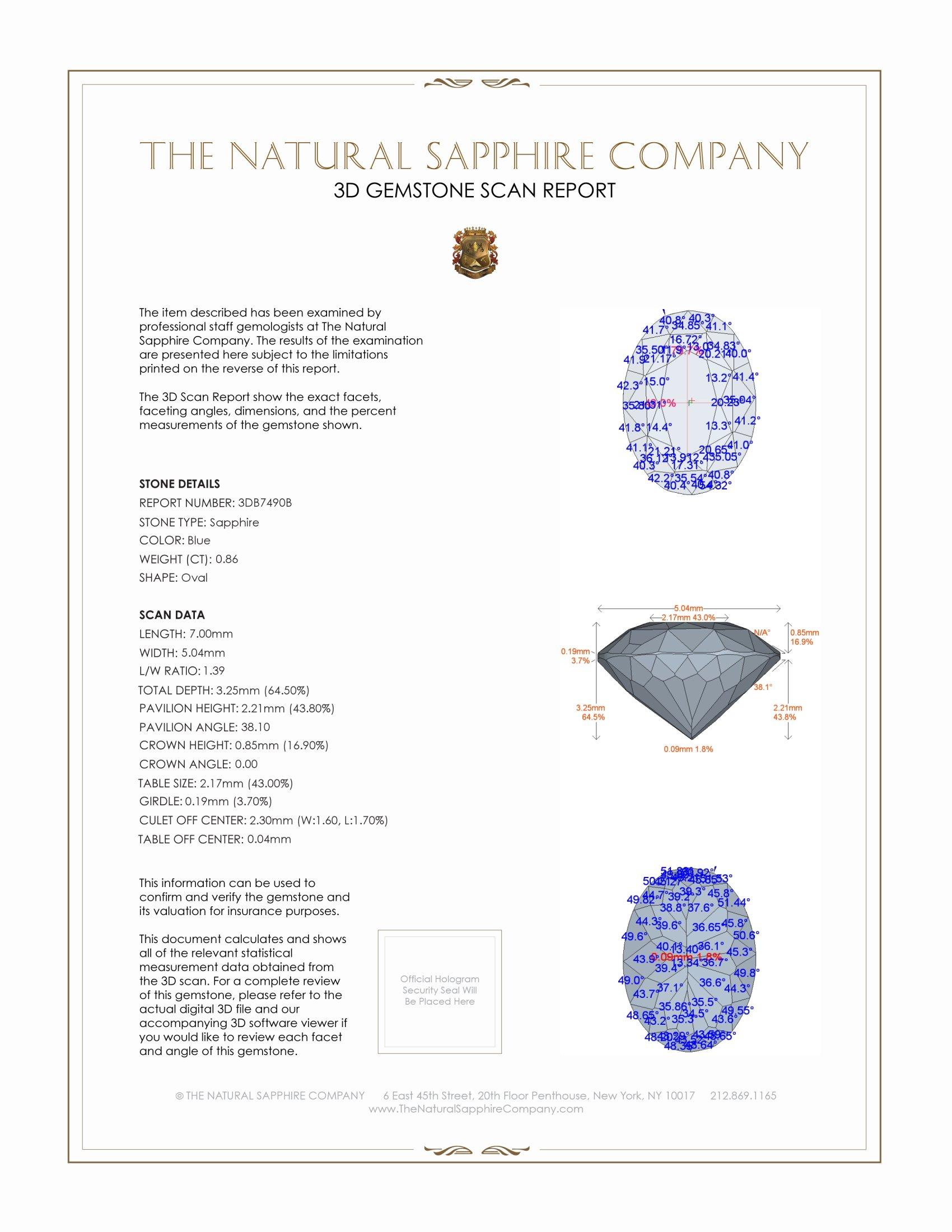 Natural Blue Sapphire B7490 Certification 2