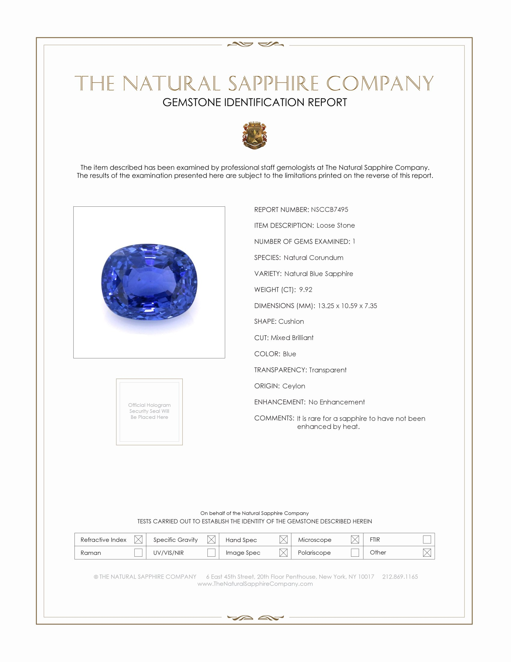 Natural Untreated Blue Sapphire B7495 Certification
