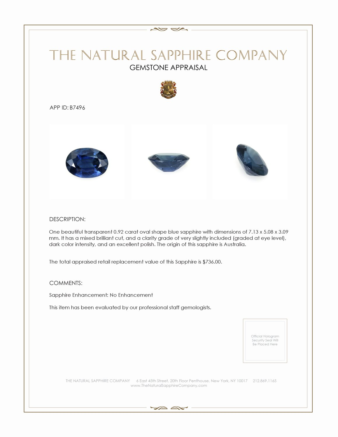 Natural Untreated Blue Sapphire B7496 Certification 3