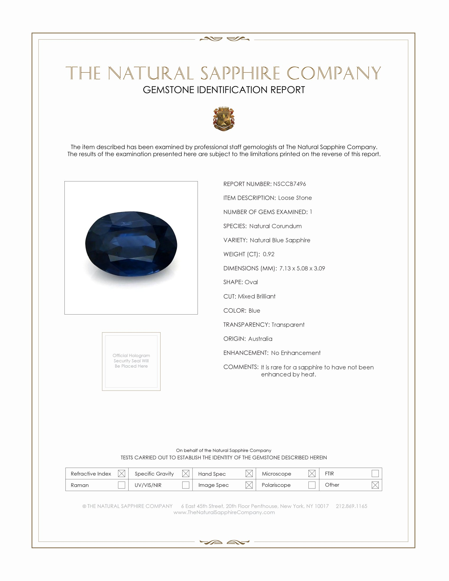 Natural Untreated Blue Sapphire B7496 Certification