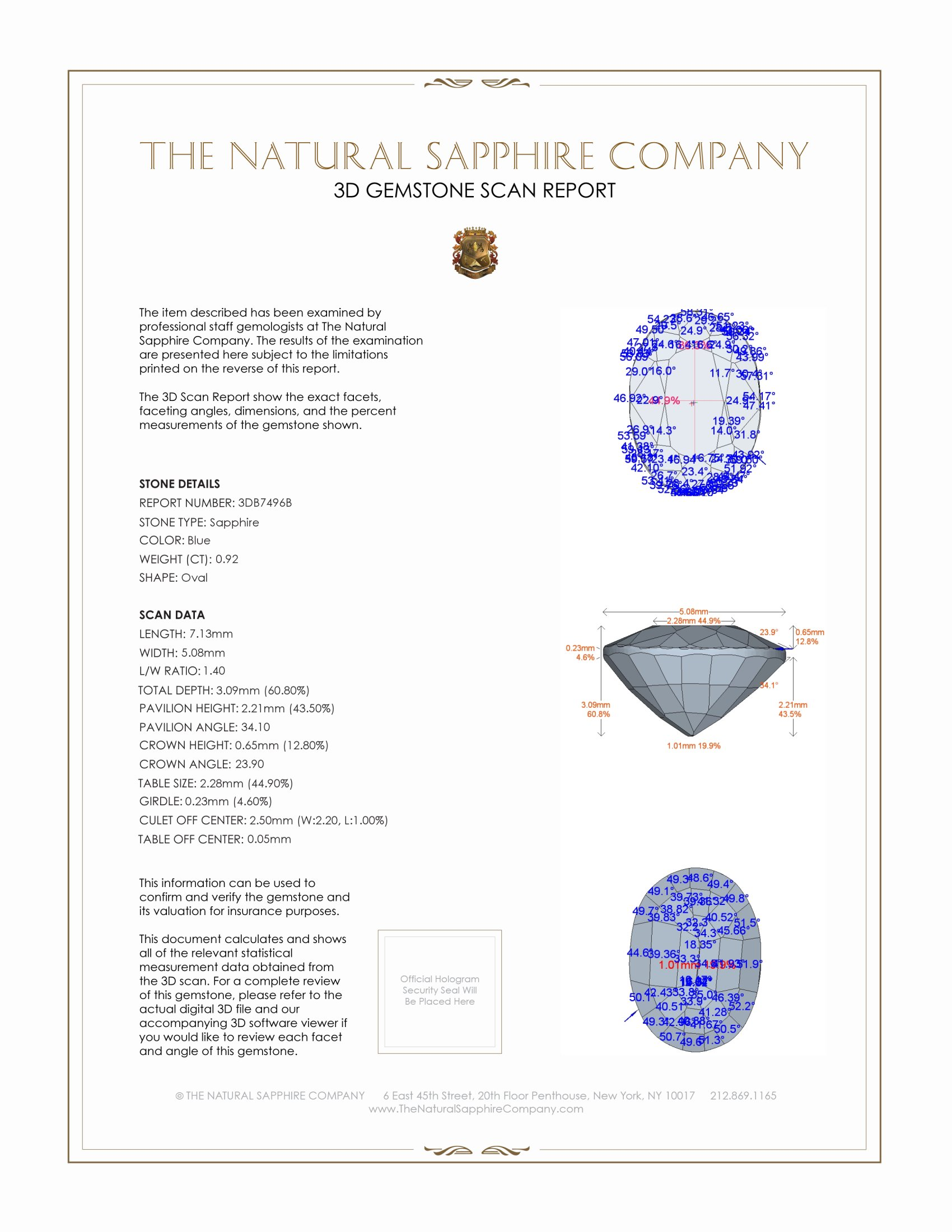 Natural Untreated Blue Sapphire B7496 Certification 2