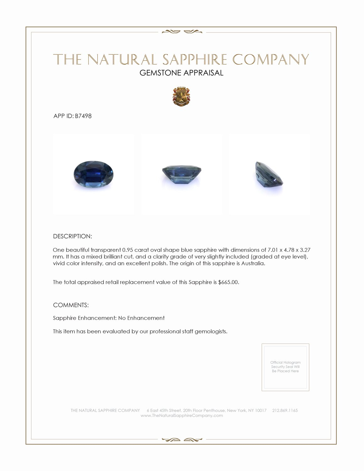 Natural Untreated Blue Sapphire B7498 Certification 3