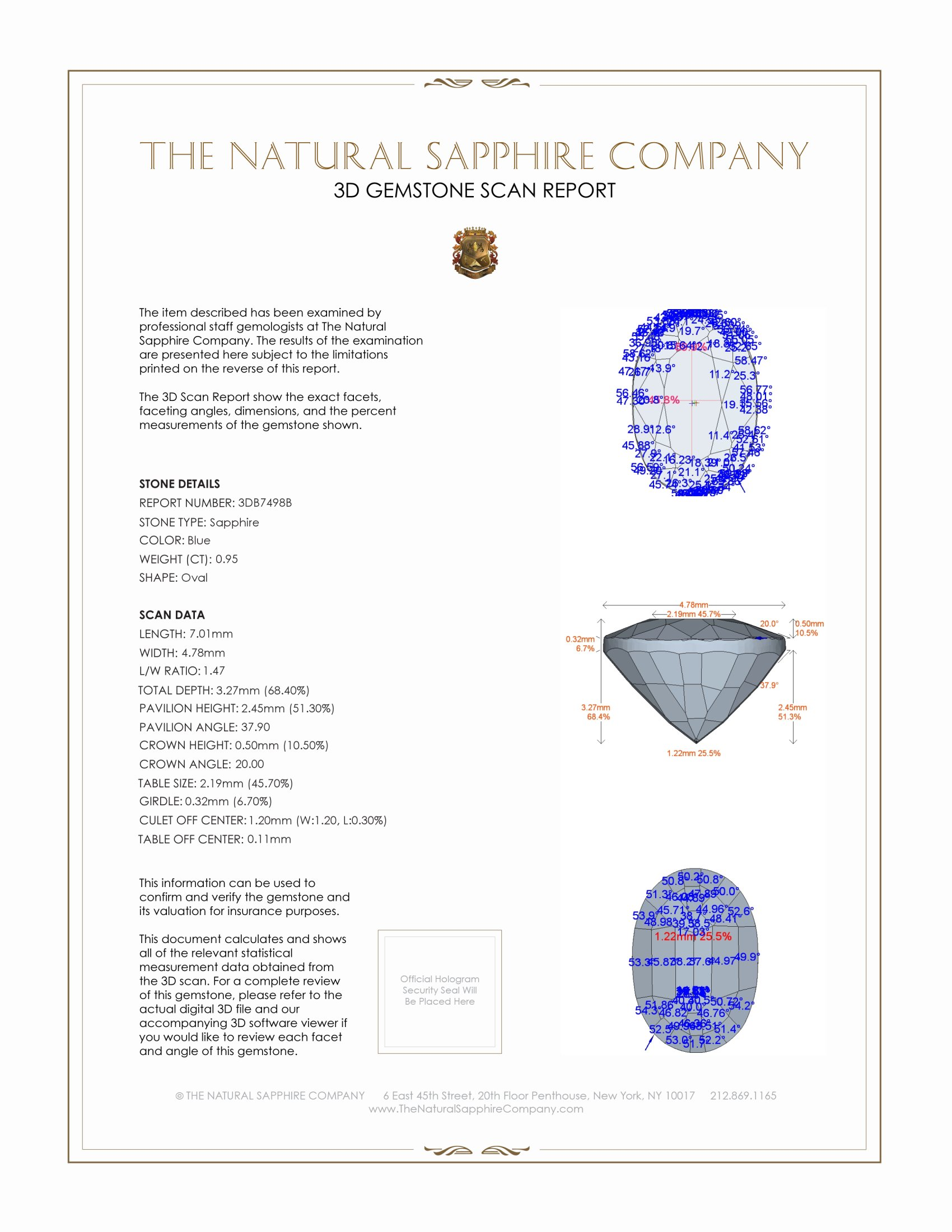 Natural Untreated Blue Sapphire B7498 Certification 2