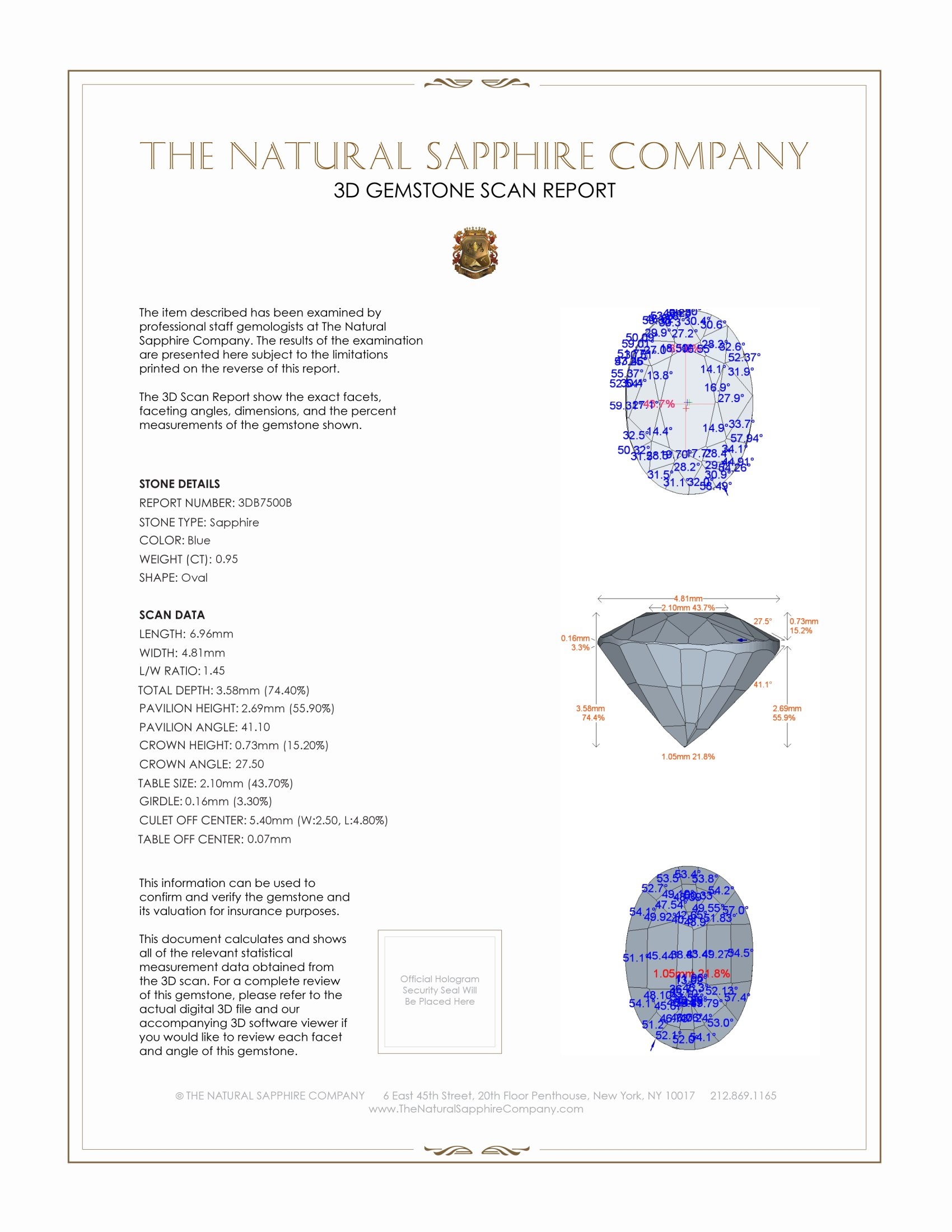 Natural Untreated Blue Sapphire B7500 Certification 2