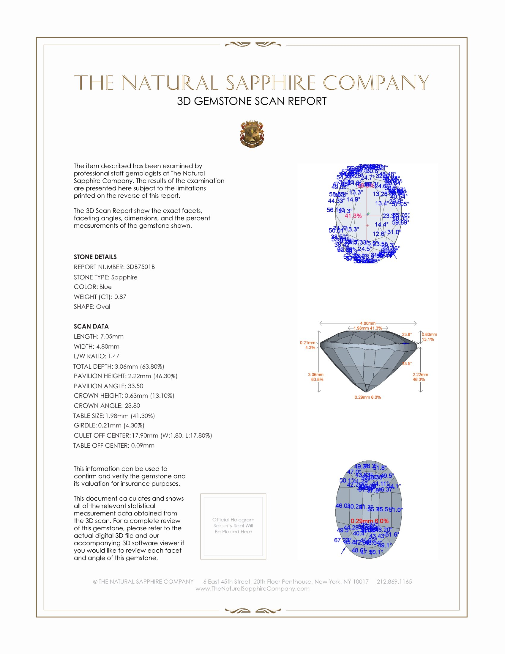 Natural Untreated Blue Sapphire B7501 Certification 2